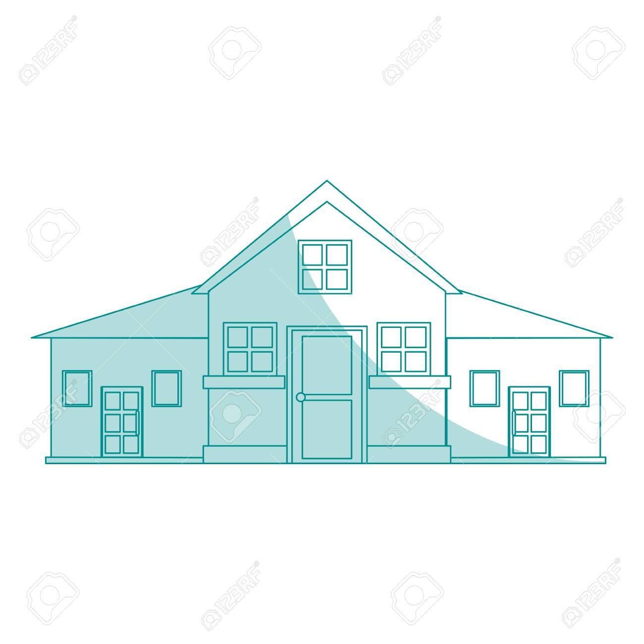 Banque dimages façade de dessin animé silhouette bleu ombrage grande maison confortable avec illustration de vecteur deux étages