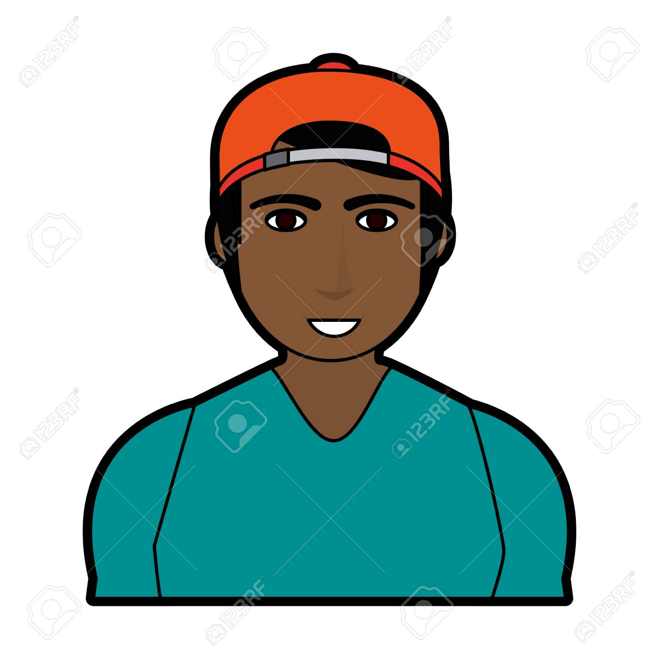 d1f280e321f398 ... reduced handsome man with muscular body wearing backwards baseball hat  icon image vector illustration design stock