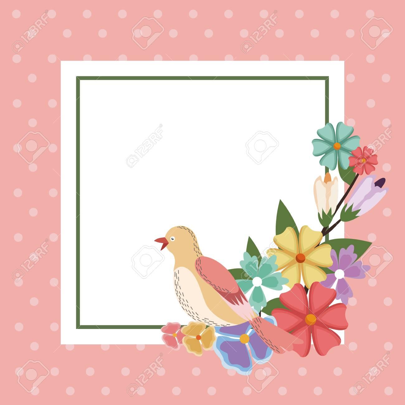 Spring Card Bird Flower Frame Decoration Invitation Template