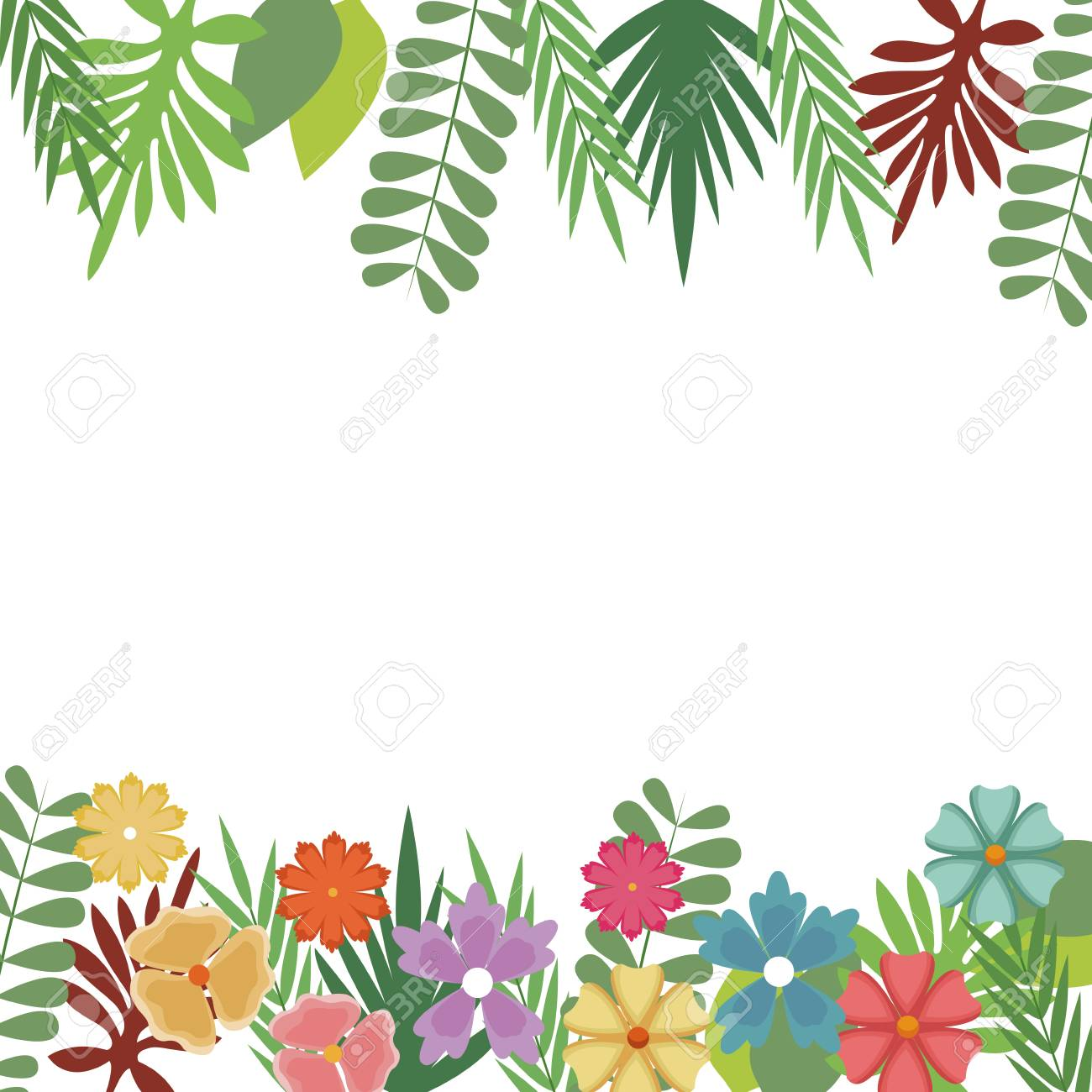 Flowers Foliate Border With Leaves Blossom Garden Design Vector