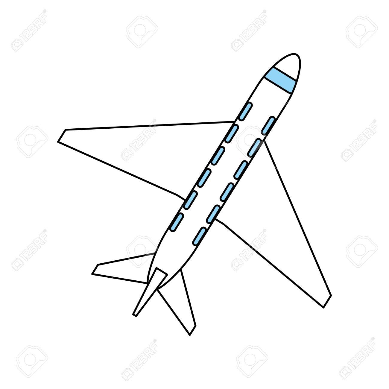 Color Silueta Dibujos Animados Vista Superior Viaje Avión Vector ...