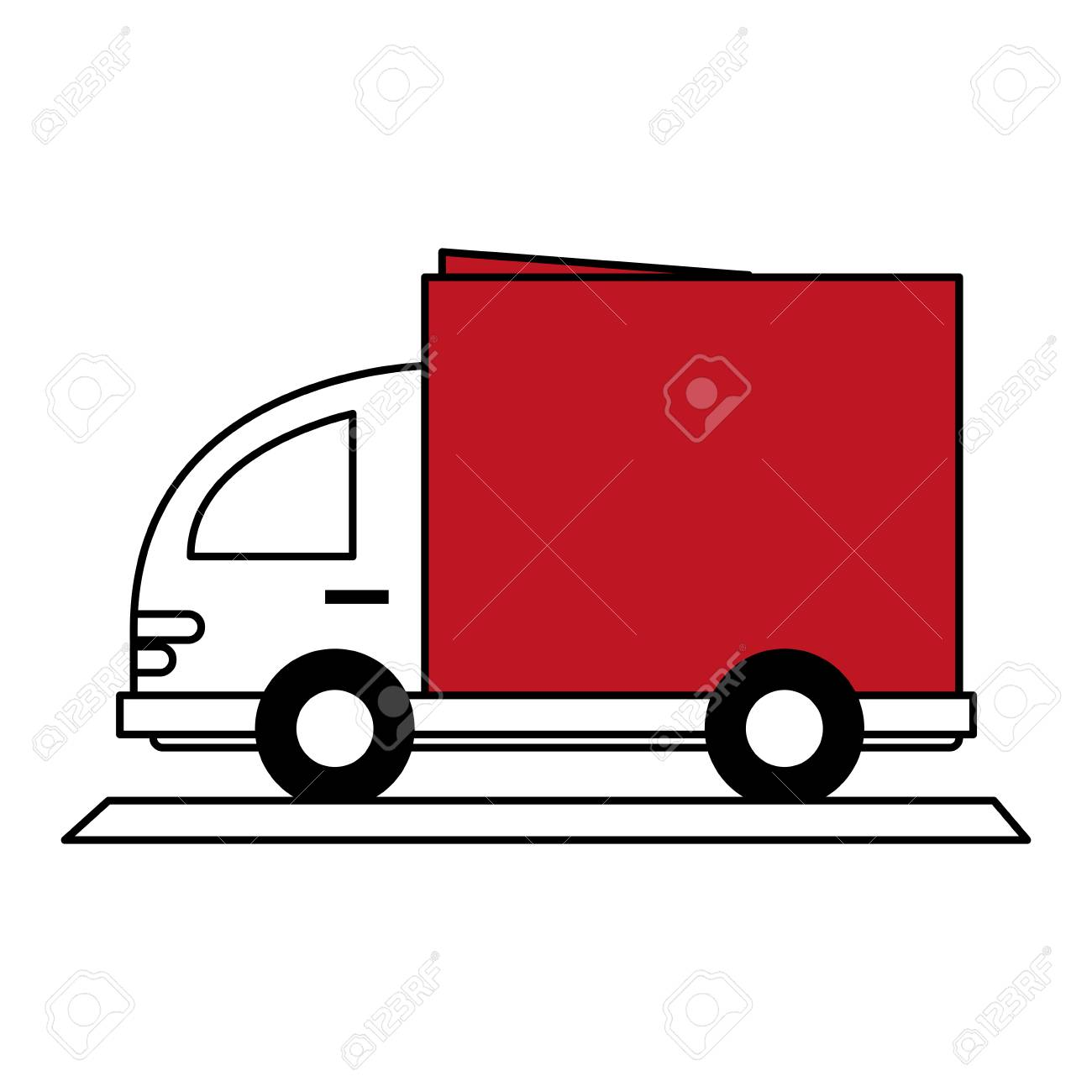 Color Silhouette Cartoon Small Transport Truck With Red Wagon