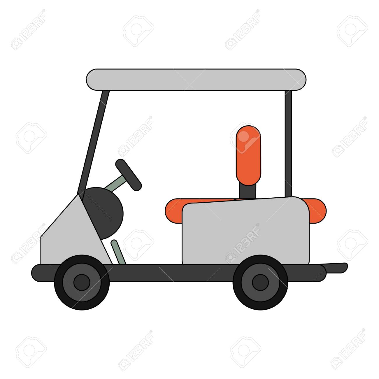 Color Image Cartoon Golf Cart Vehicle Vector Illustration Royalty Free Cliparts Vectors And Stock Illustration Image 77829654