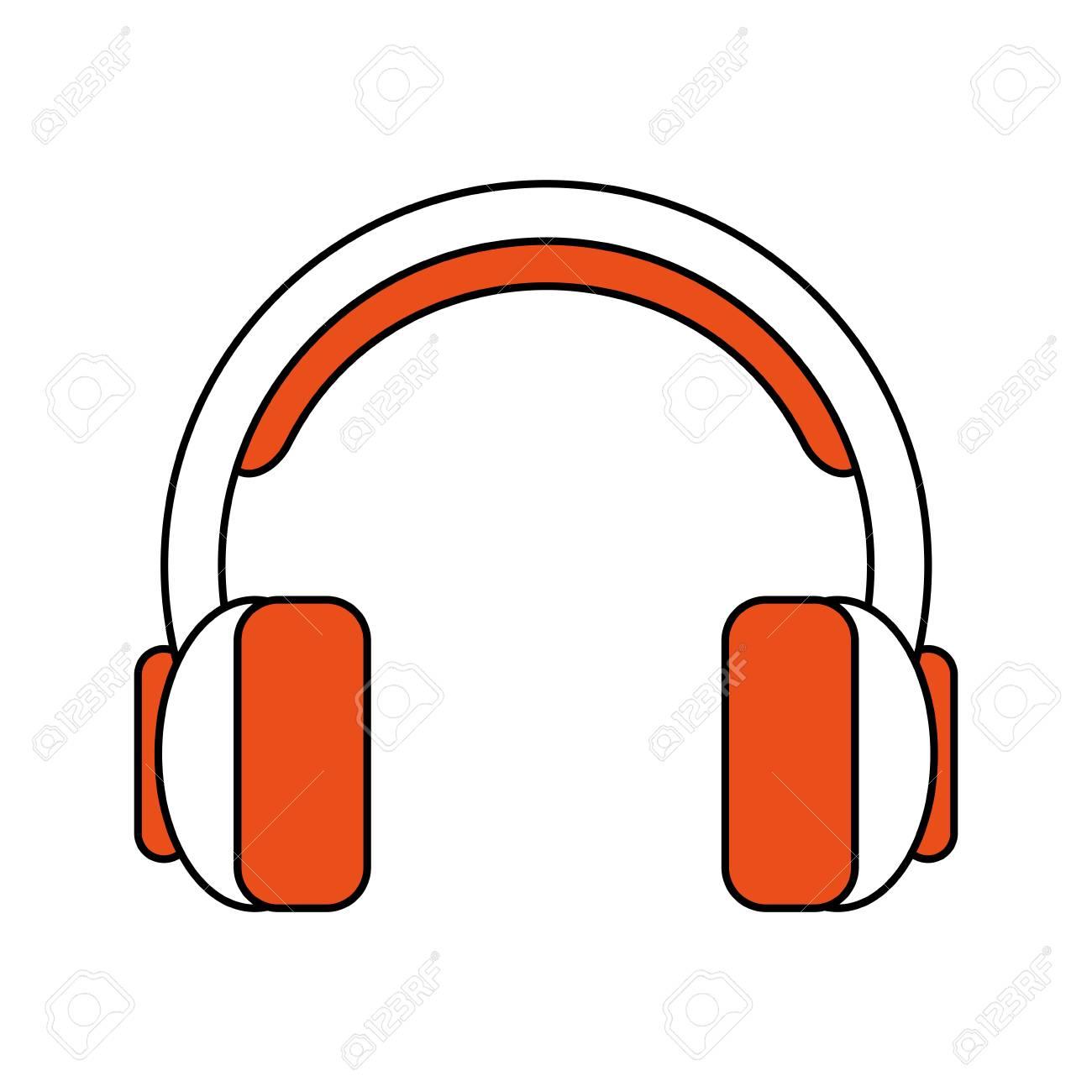 Dessin Casque Audio casque couleur dessin animé silhouette avec illustration vectorielle