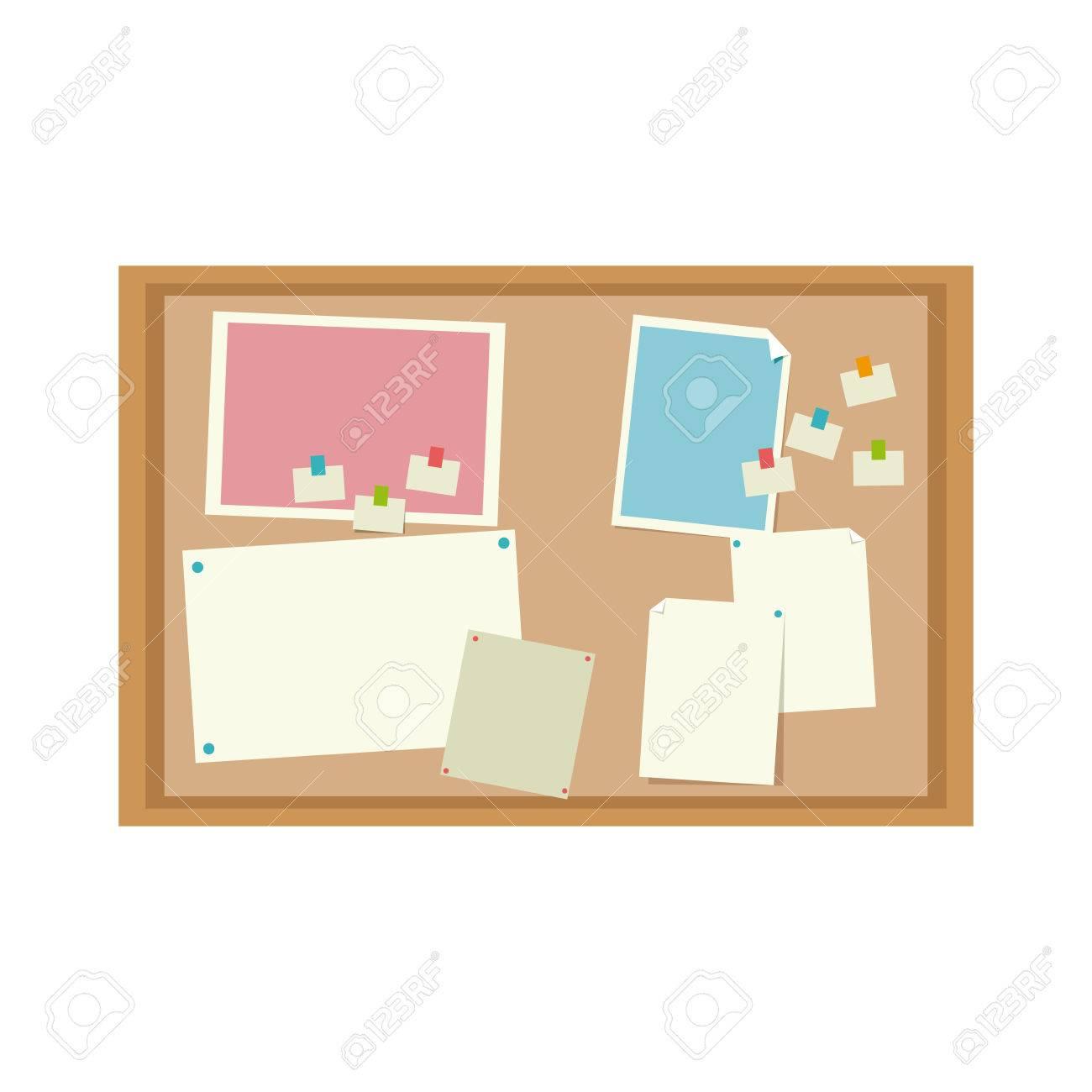 Kork Bord Mit Notizen Nachricht Büro Bild Vektor-Illustration ...