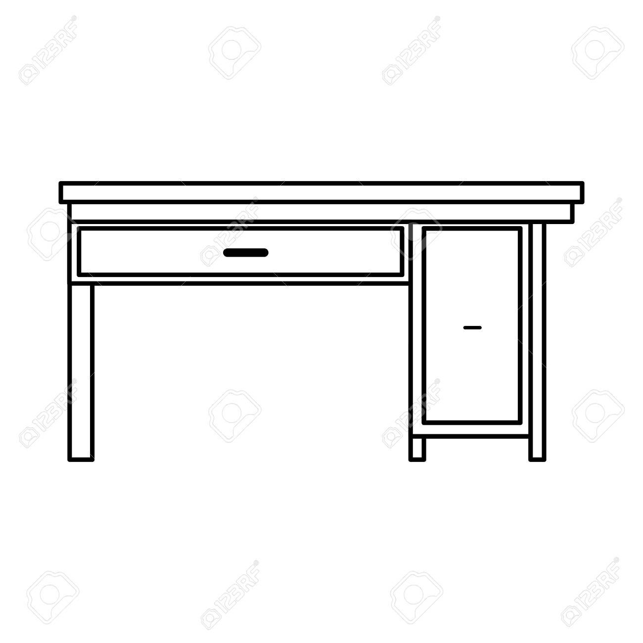 Office Desk Wooden Drawer Handle Furniture Outline Vector Illustration  Stock Vector   77843948
