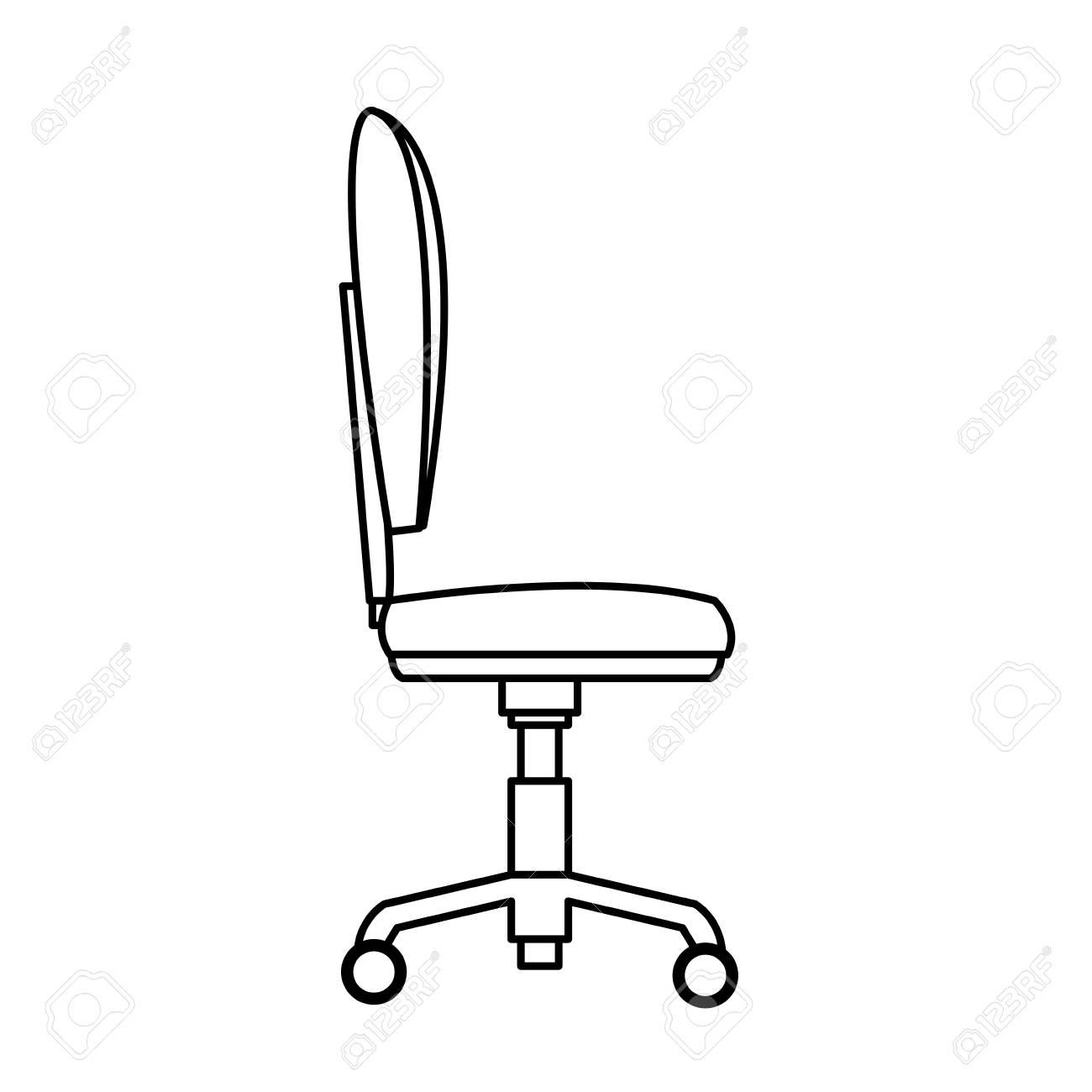Silla Oficina Rueda Contorno De Perfil Suave Ilustración Vectorial ...