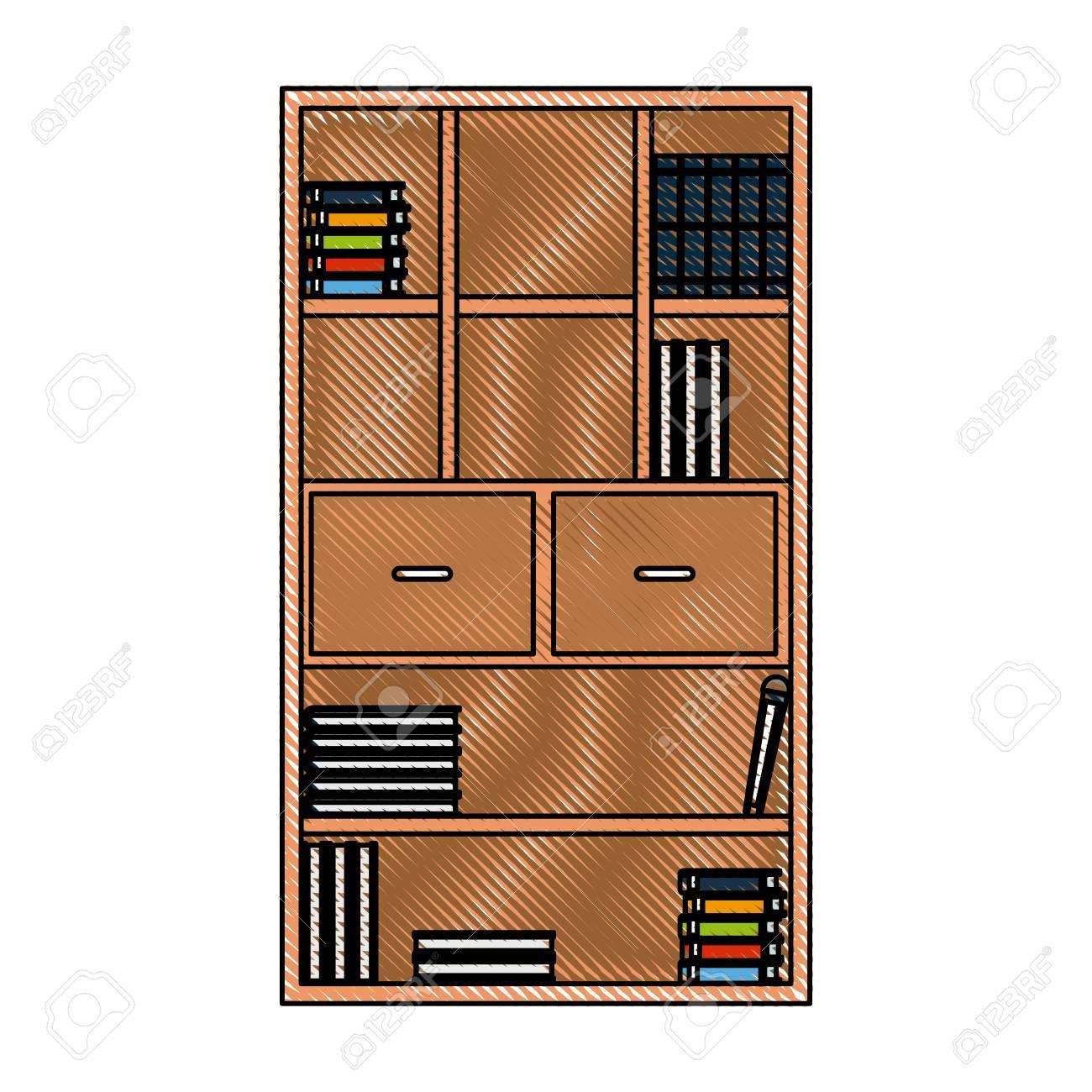 Dibujo Libreria Libros Libros Muebles Cajones Manejar Ilustracion
