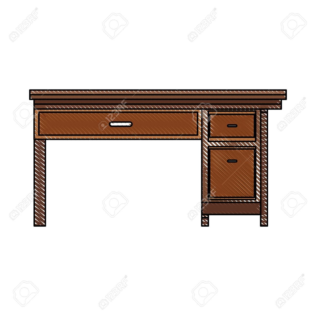 Drawing Office Desk Wooden Drawer Handle Furniture Vector ...
