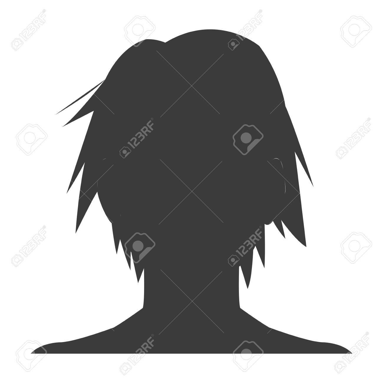 Silhouette head boy anime avatar image vector illustration stock vector 77853621