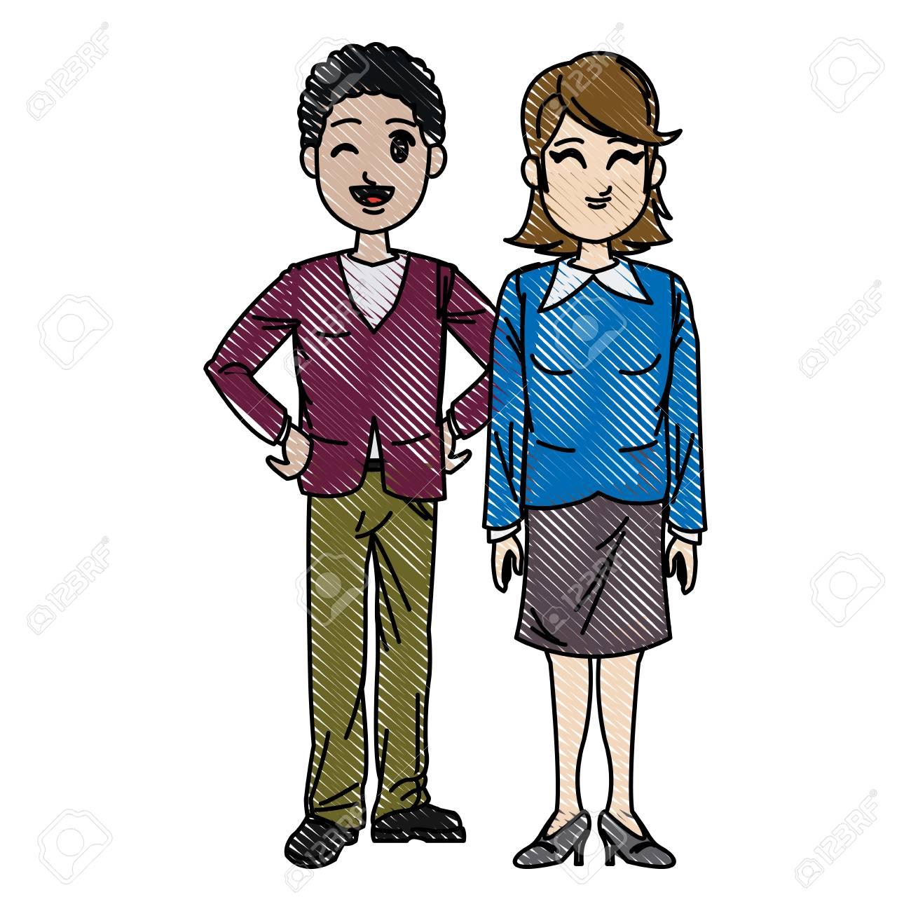 Dibujo Hombre Y Mujer Hombres De Negocios De Trabajo Ilustración