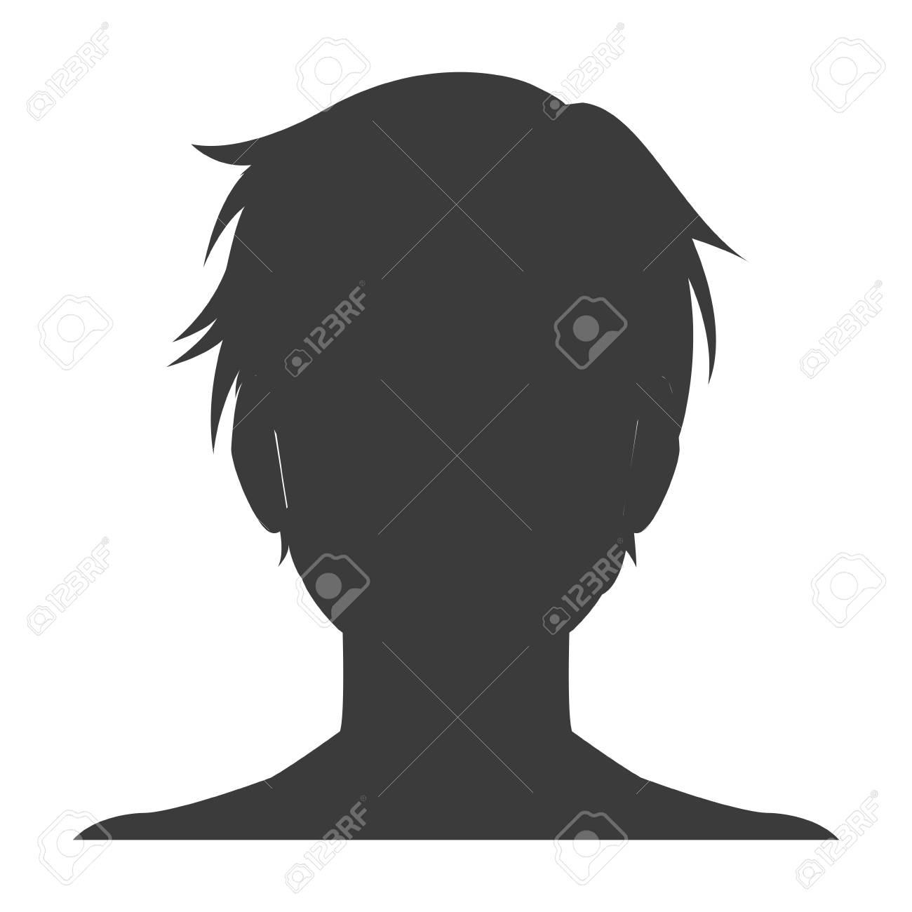Silhouette head boy anime avatar image vector illustration stock vector 77853721