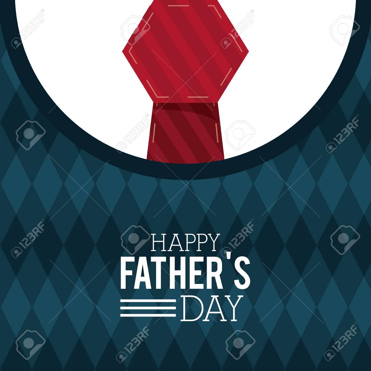 Feliz Día Del Padre Tarjeta De Felicitación Ilustración De Vector De Invitación De Decoración De Lazo Rojo Suéter De Letras