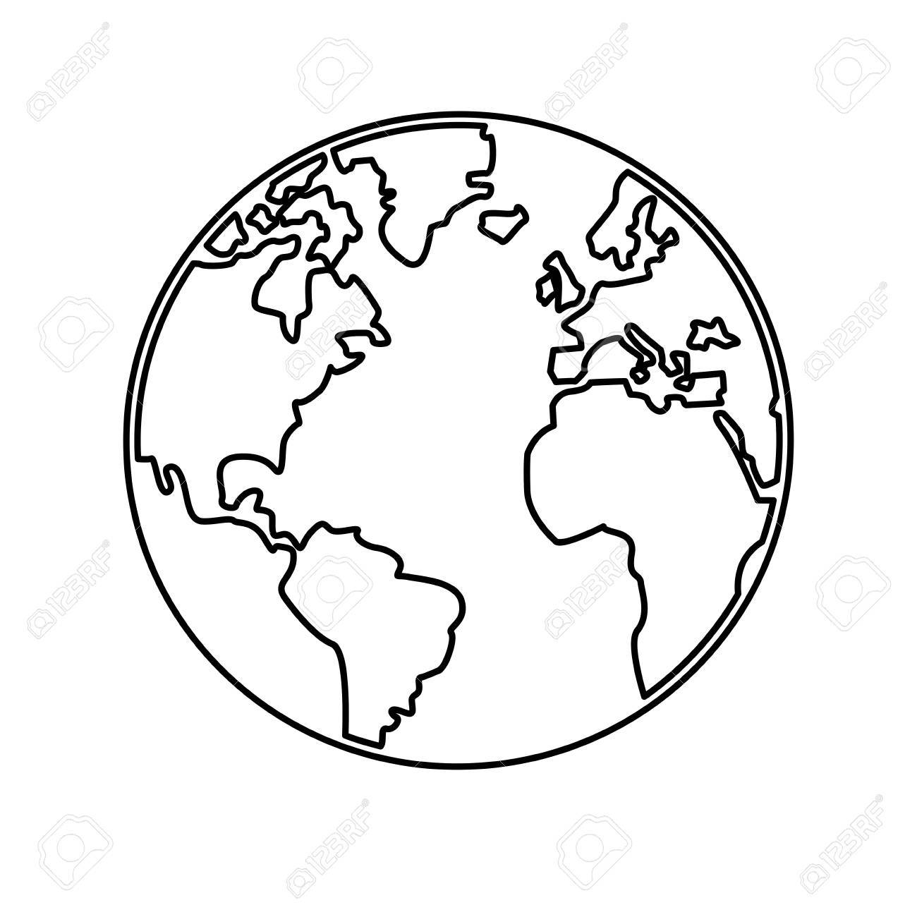 World Map Earth Globes Cartography Continents Outline Vector ...