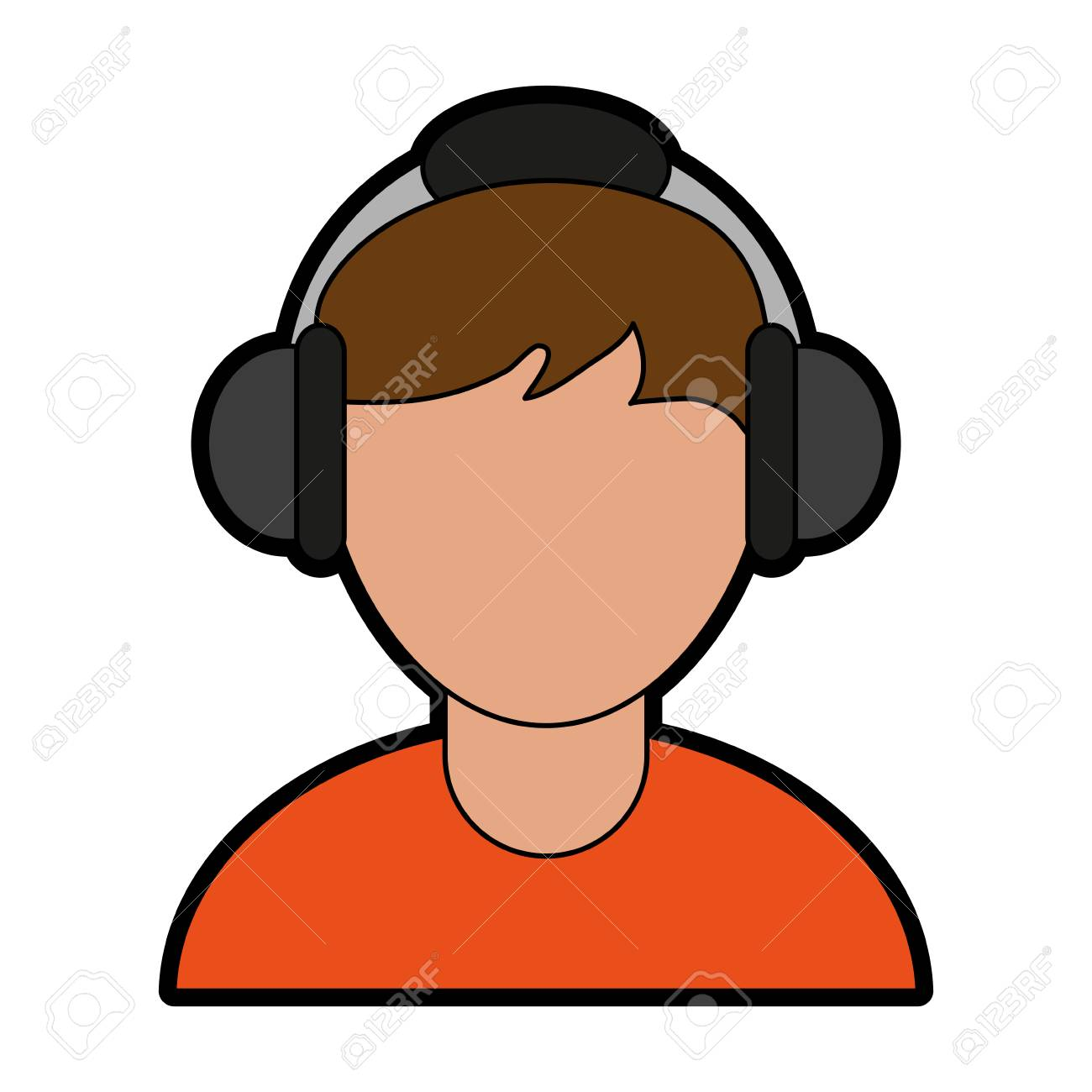 Person Wearing Headphones Icon Image Vector Illustration Design Royalty Free Cliparts Vectors And Stock Illustration Image 78179615