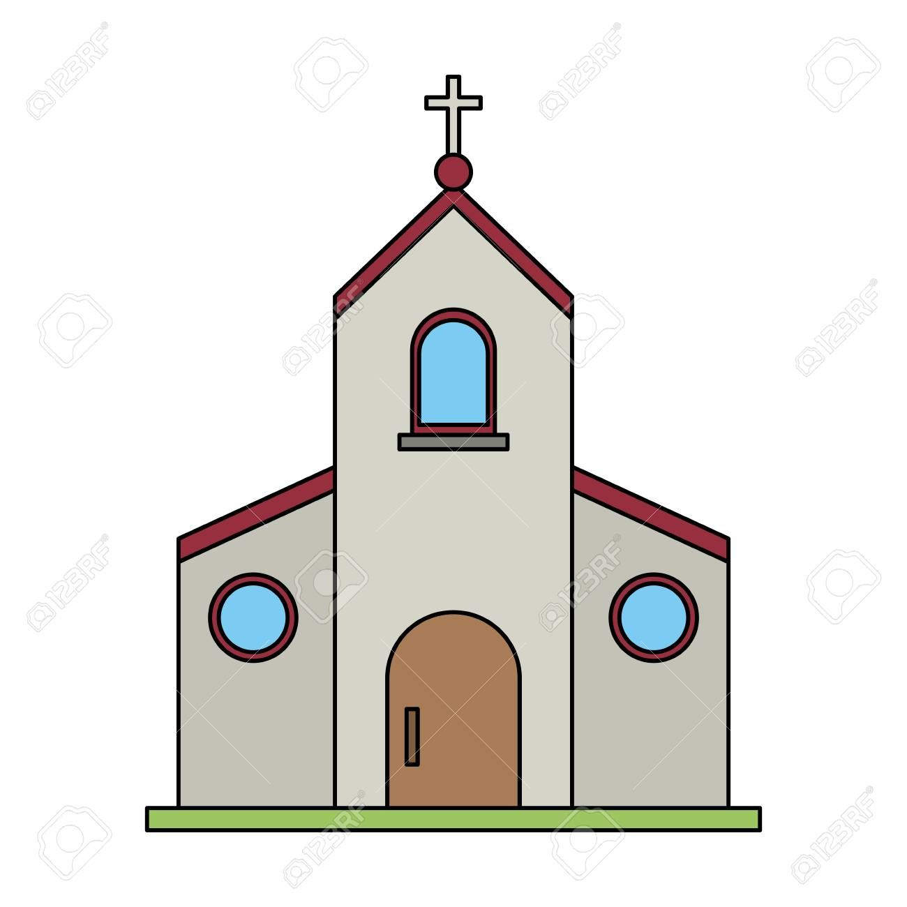 Color Image Church Building With Cross Vector Illustration Royalty ...
