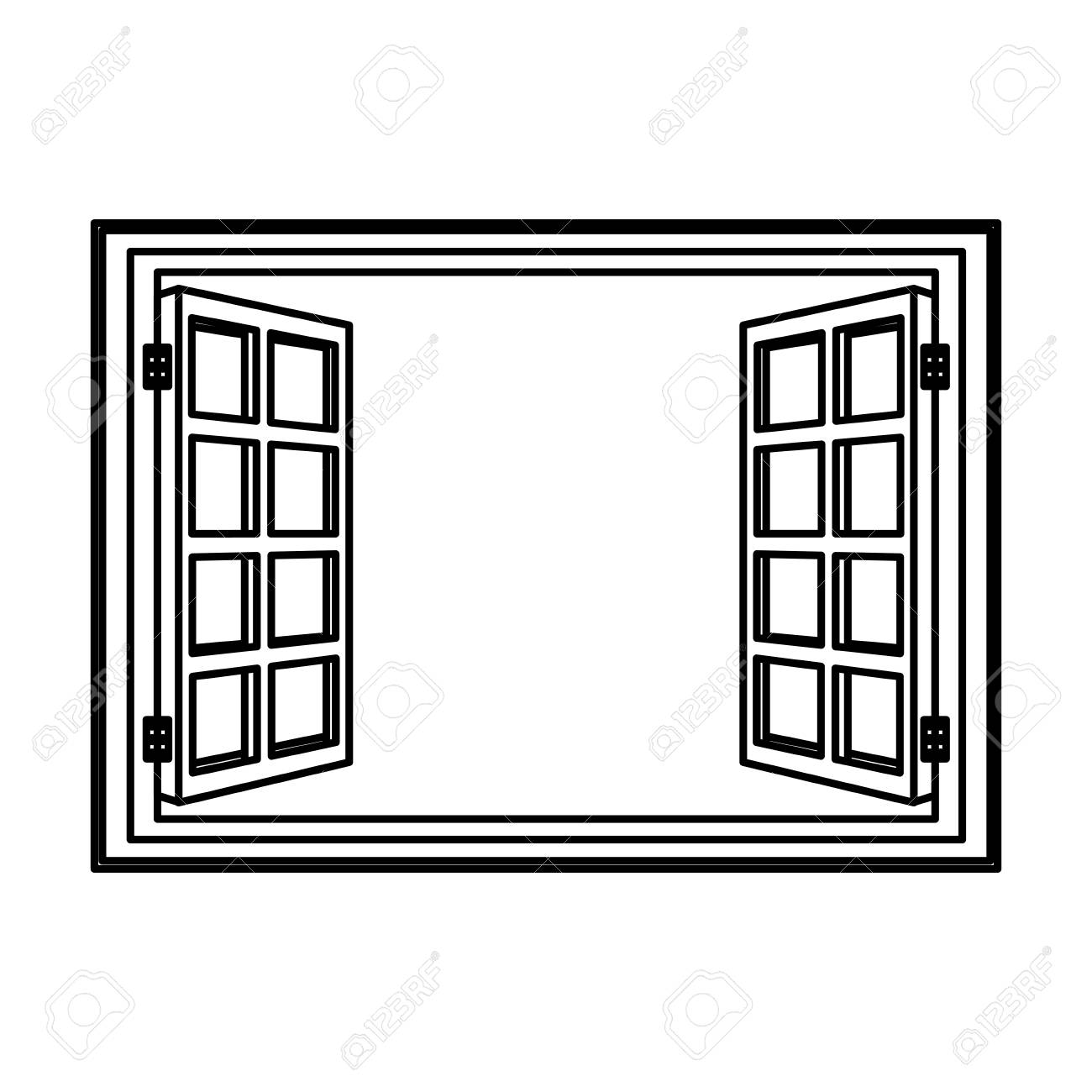 Open Window Frame Wooden Image Vector Illustration Royalty Free ...