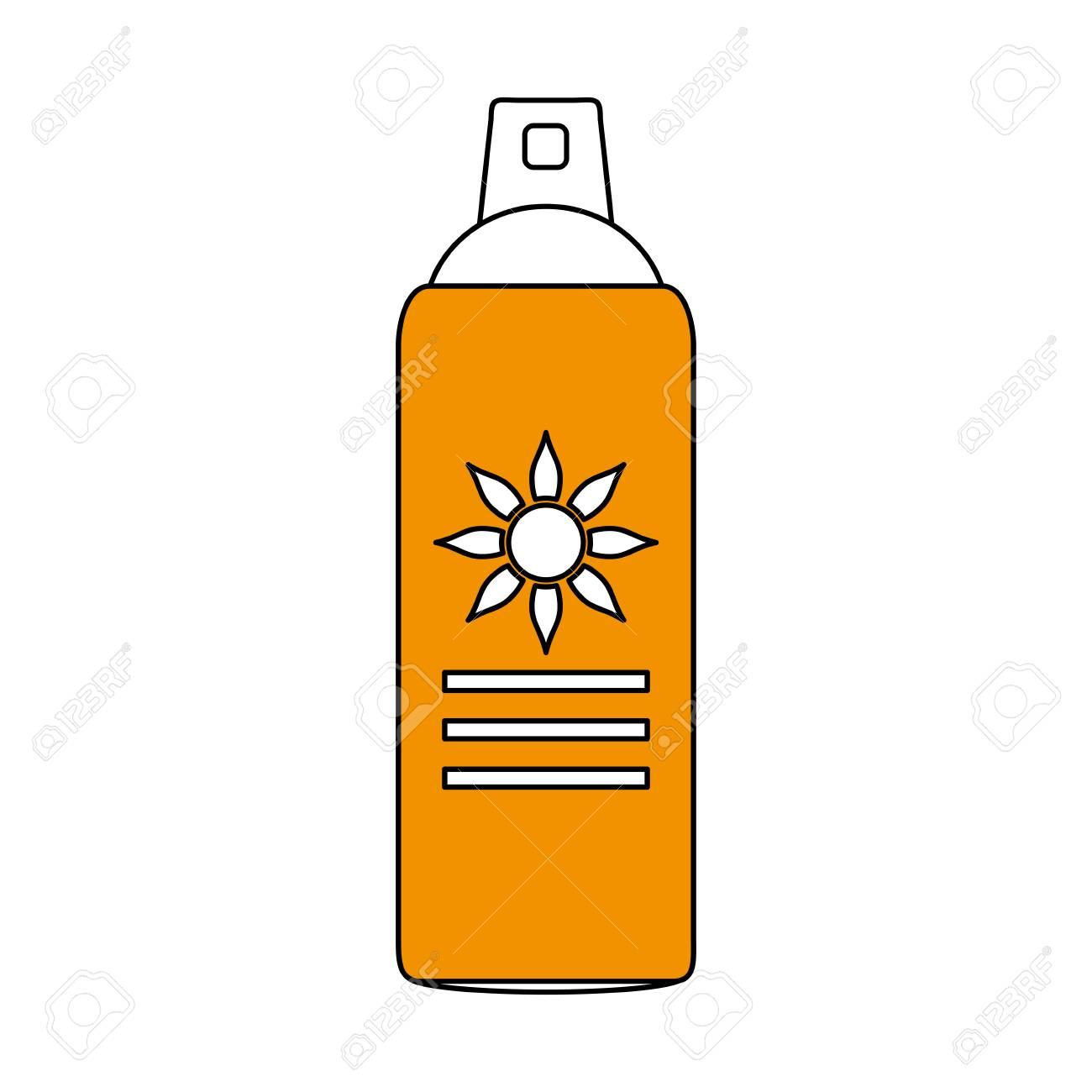 色シルエット イメージ黄色日焼け止めスプレー ボトル ベクトル イラスト