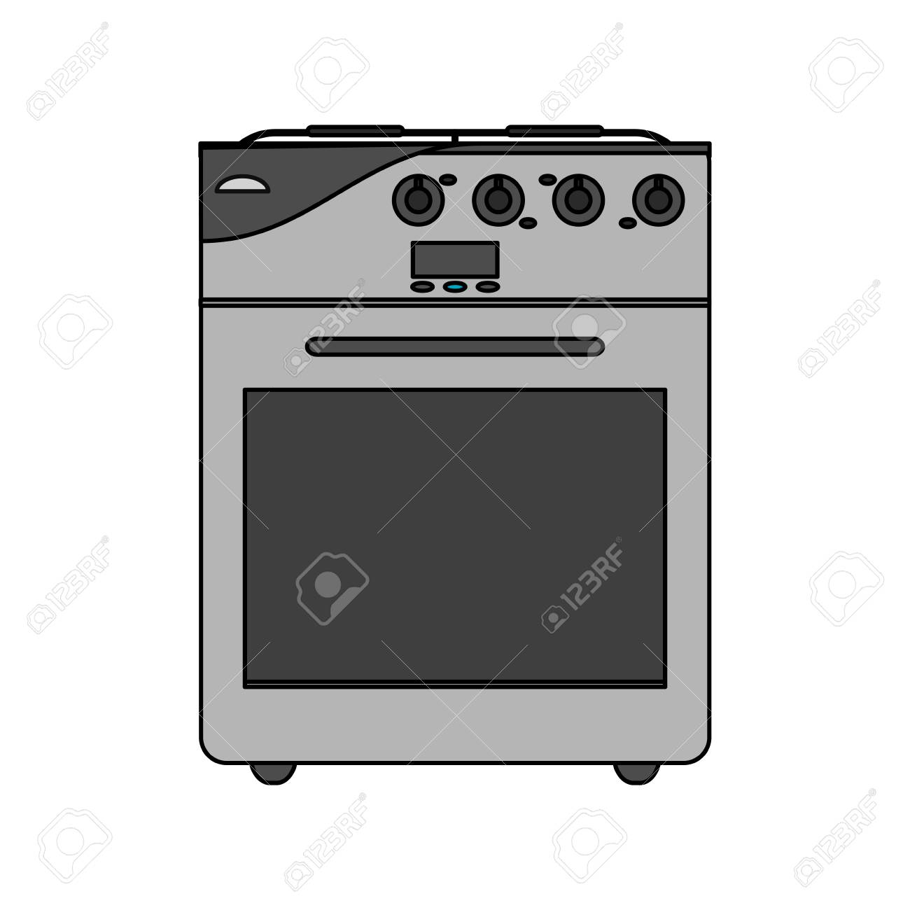 color image cartoon stove gas with oven vector illustration royalty