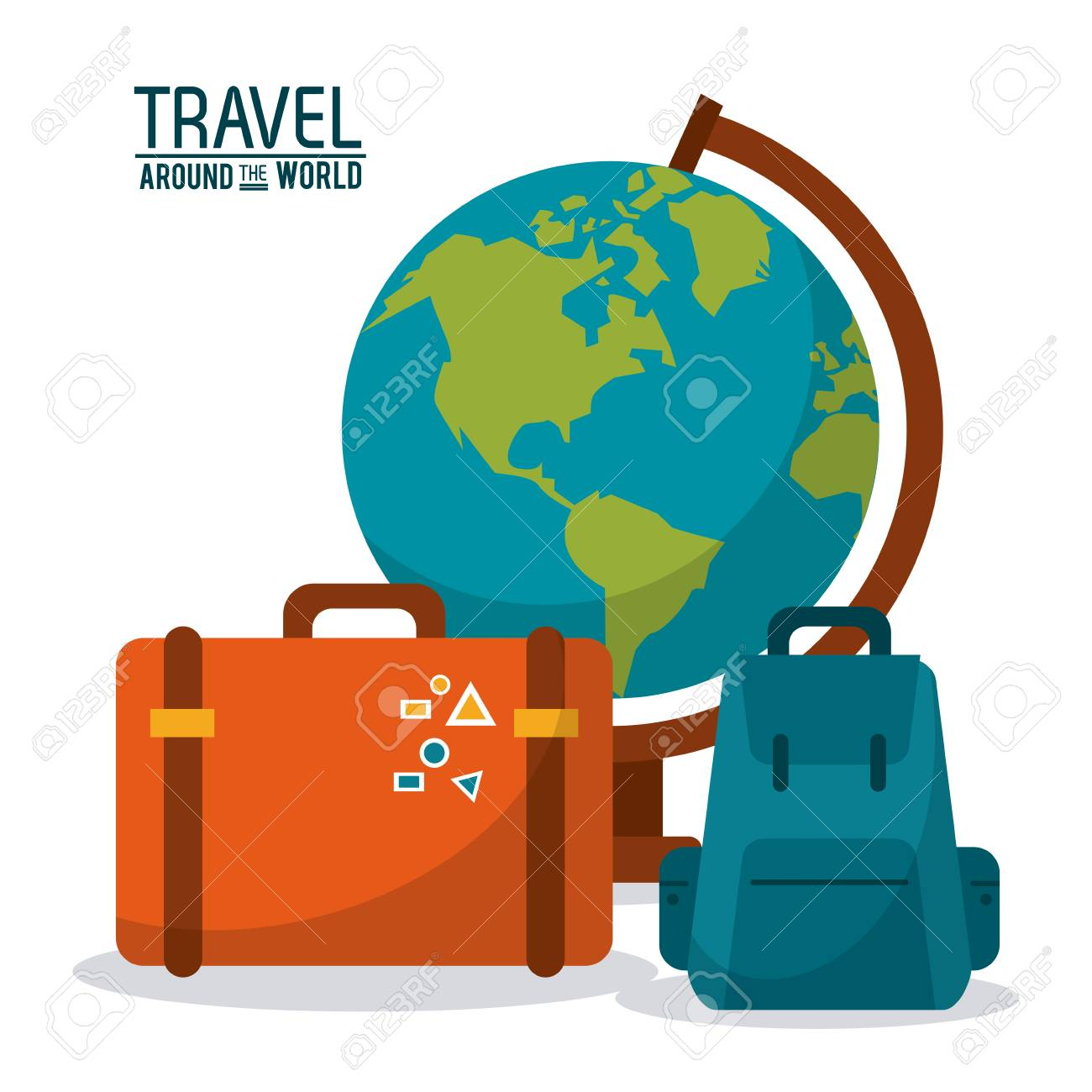 Travel around the world globe map backpack suitcase luggage travel around the world globe map backpack suitcase luggage vector illustration stock vector 78352715 gumiabroncs Image collections
