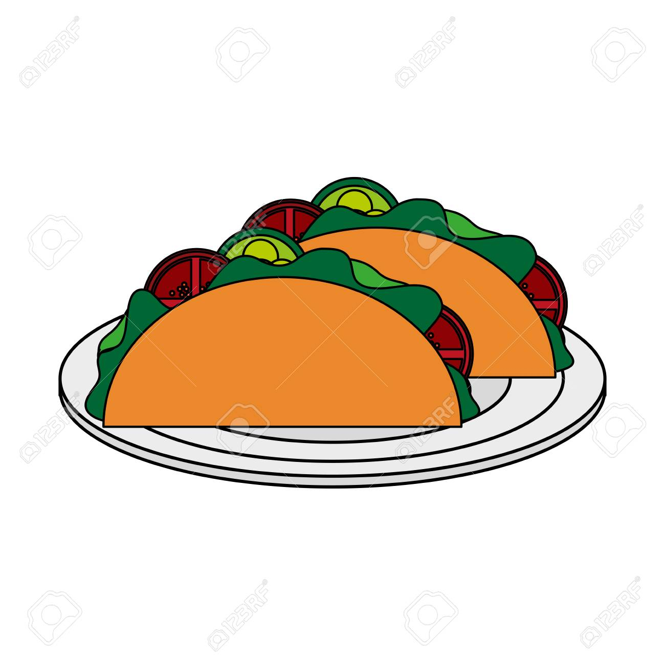 color image cartoon tacos on plate mexican food in white dish rh 123rf com cartoon mexican food cartoon mexican food