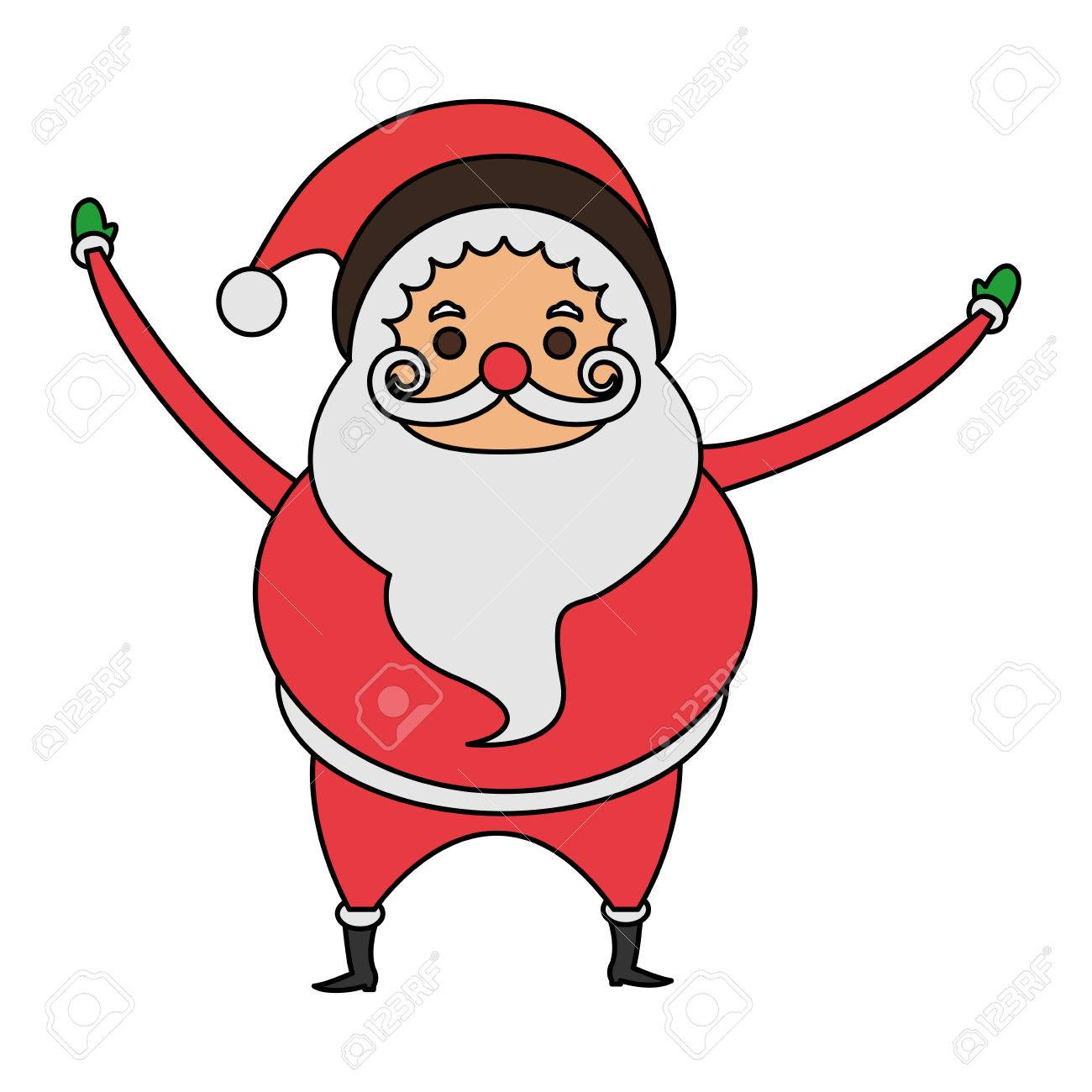 Color Imagen Dibujos Animados Cuerpo Lleno De Grasa Santa Claus