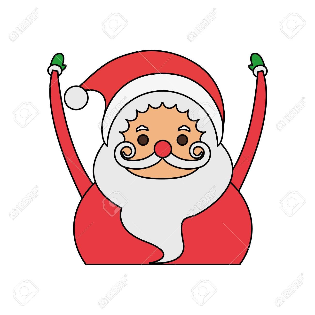 color image cartoon half body fat santa claus with hands up vector