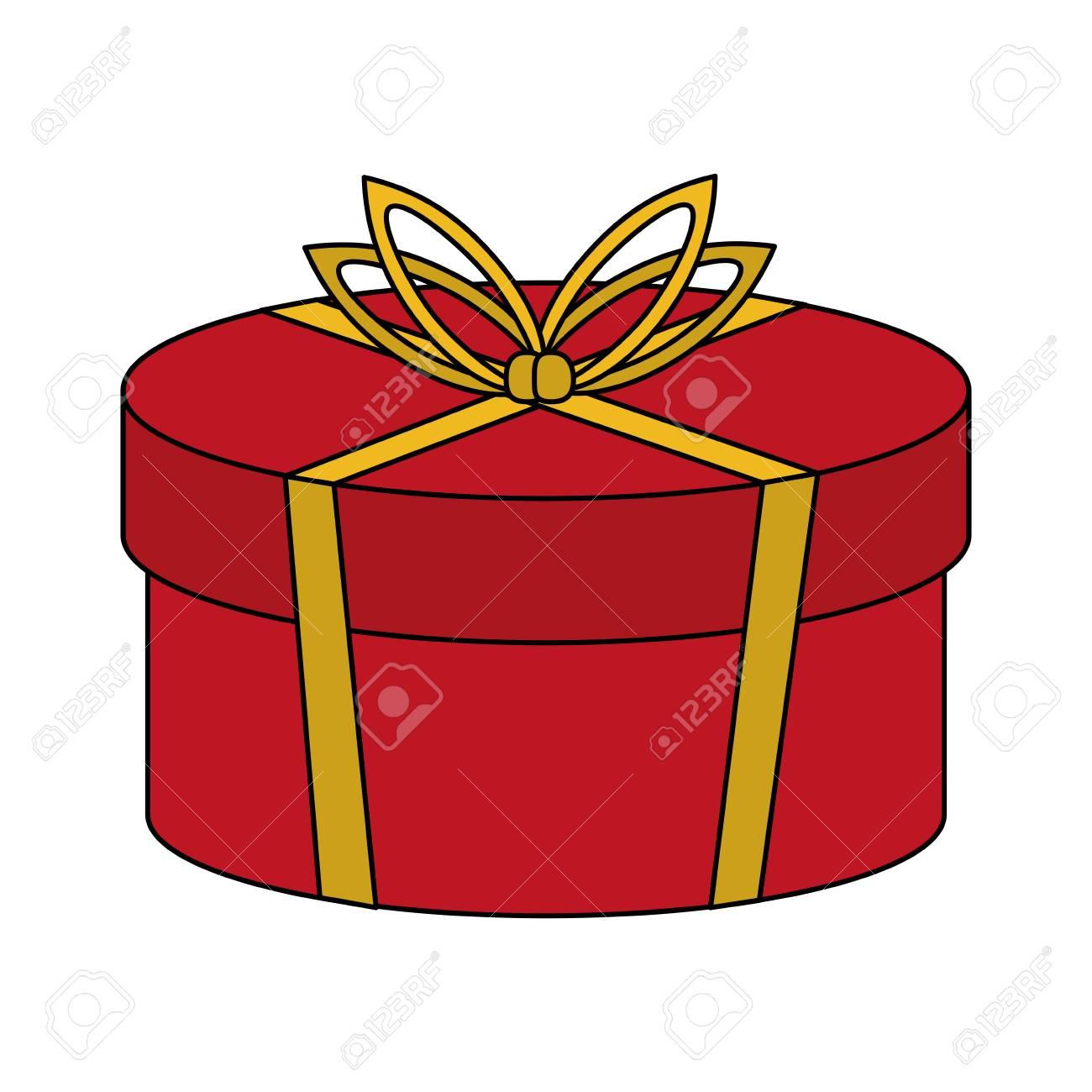 Couleur Image Dessin Animé Noël Arrondi Boite Cadeau Avec Illustration Vectorielle Archet Bow