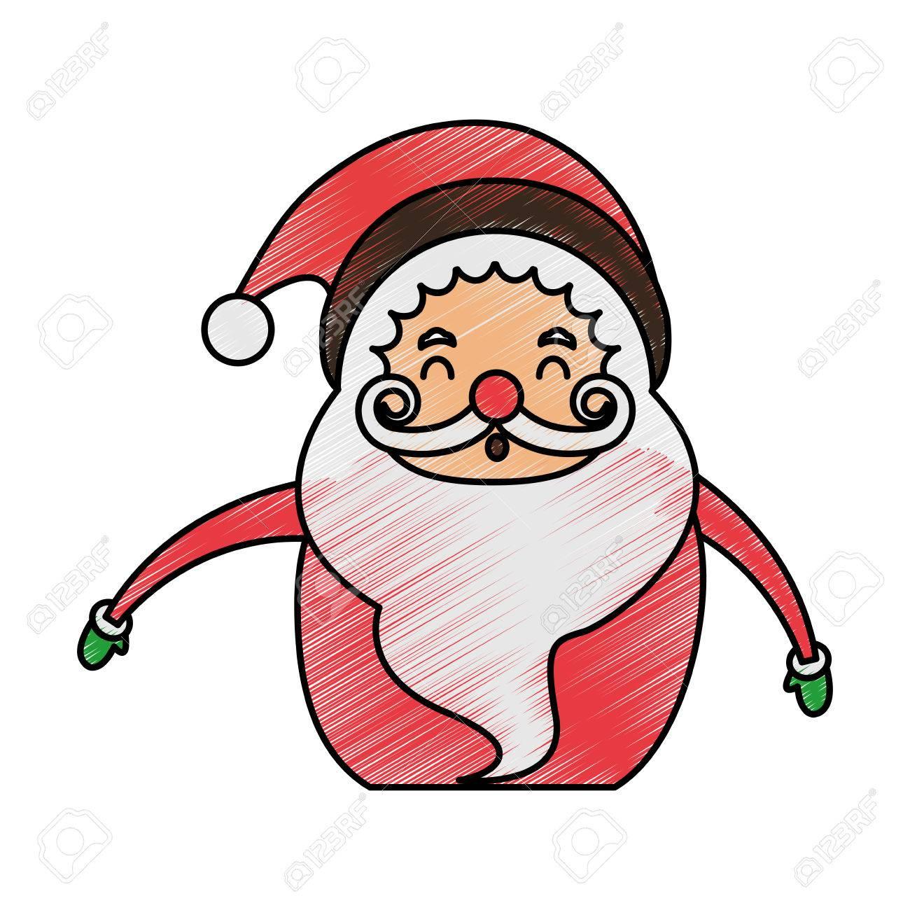 Couleur Crayon Dessin Animé Moitié Corps Gras Père Noël Souriant Illustration Vectorielle