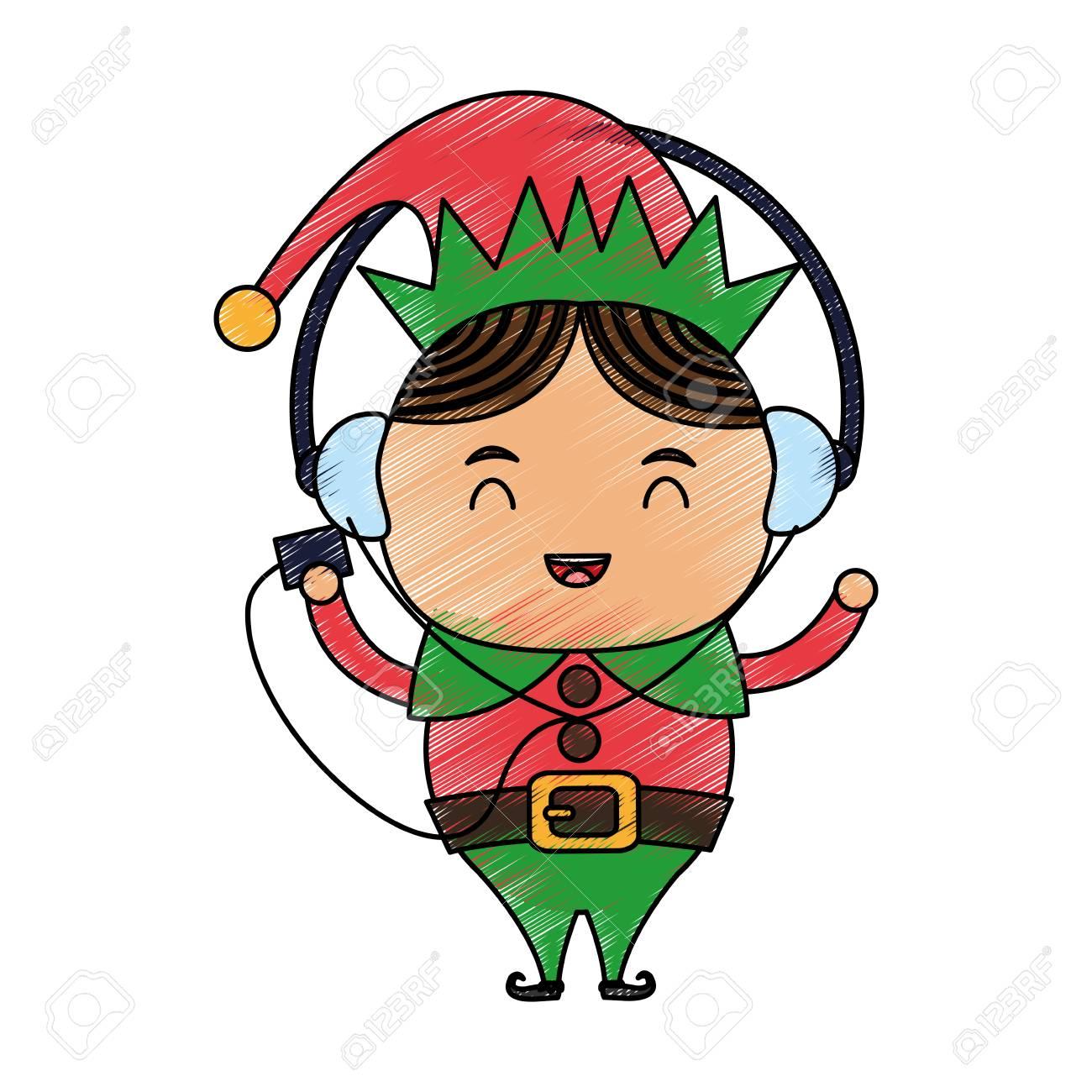 Color Lápiz Dibujos Animados Cuerpo Completo Duende De Navidad Con