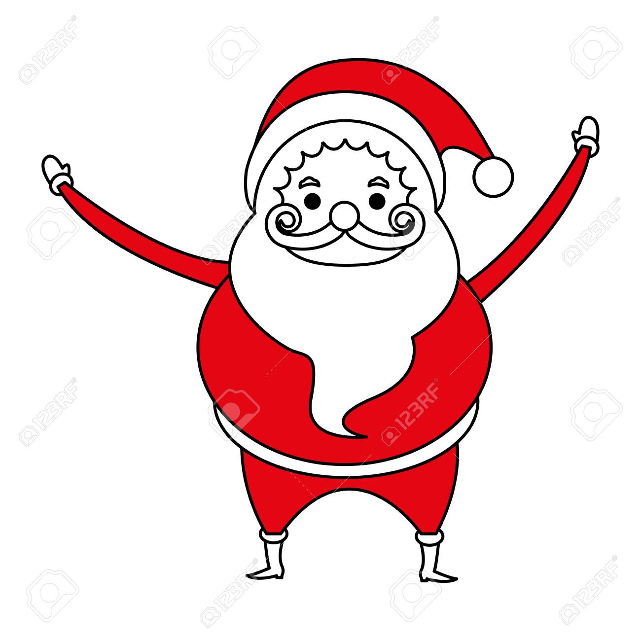 color silhouette image cartoon full body fat santa claus vector illustration stock vector 78427625 - Pictures Of Santa Claus To Color