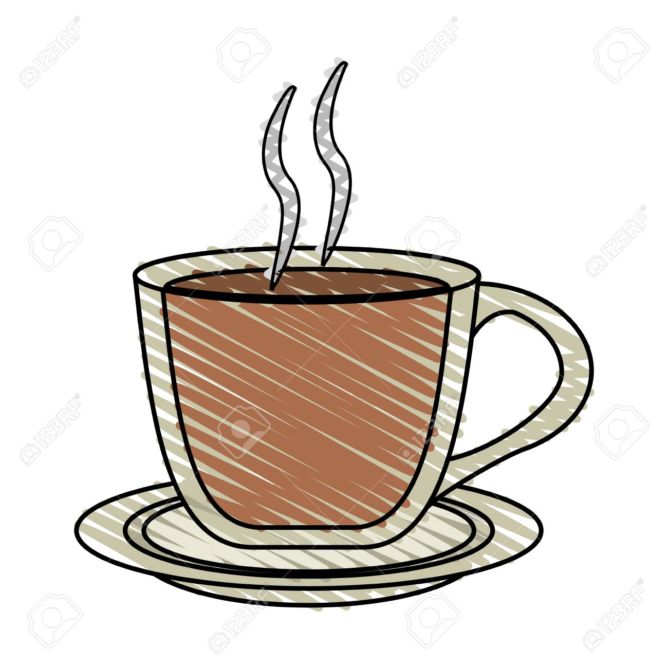 color crayon stripe cartoon transparent cup of coffee with steam