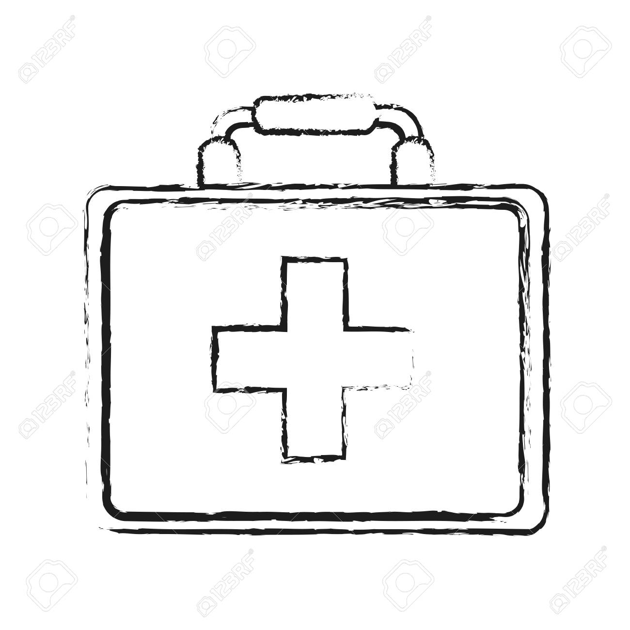 Blurred Silhouette Image Cartoon First Aid Kit With Symbol Cross