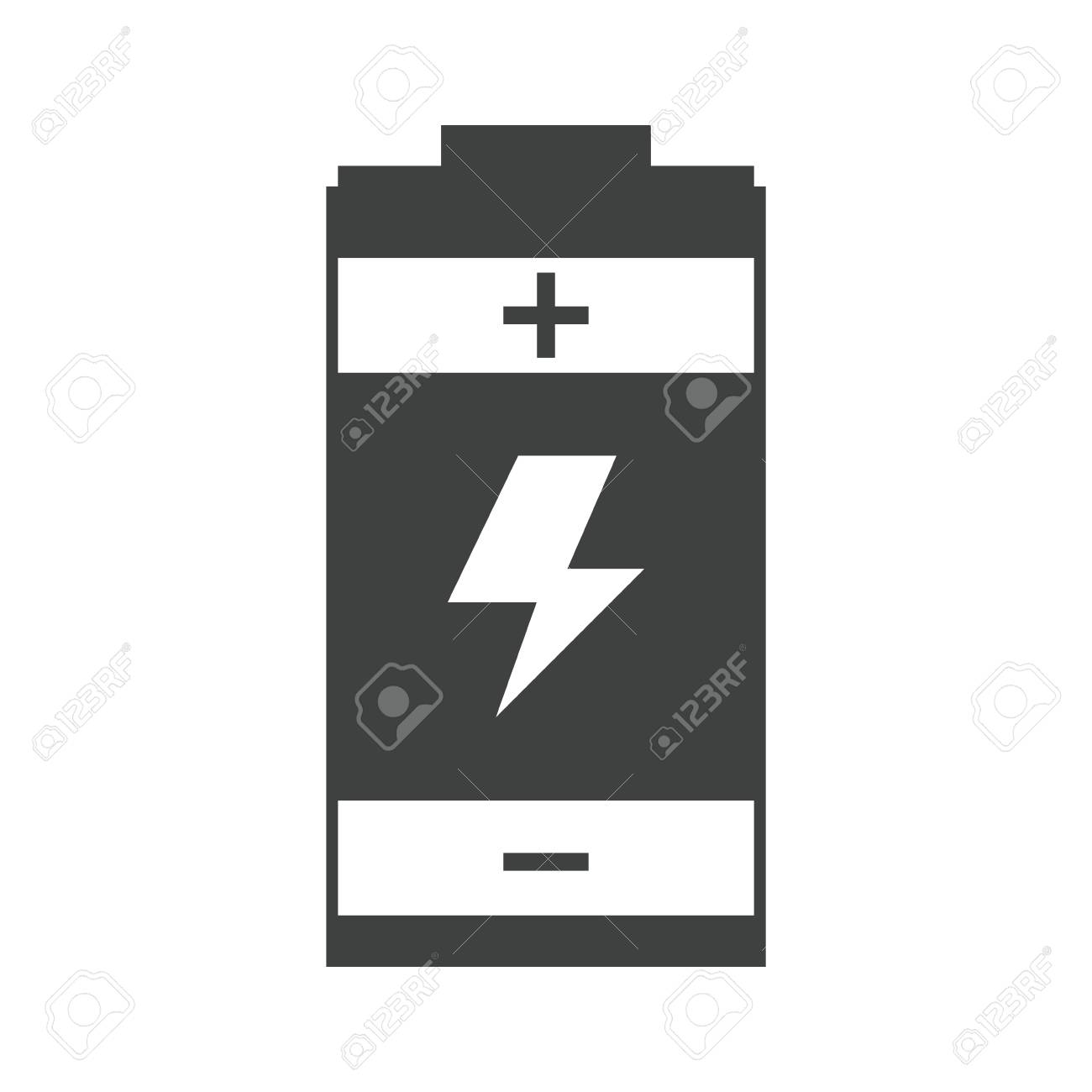 Battery Charger Energy Generation Symbol Pictogram Vector ...