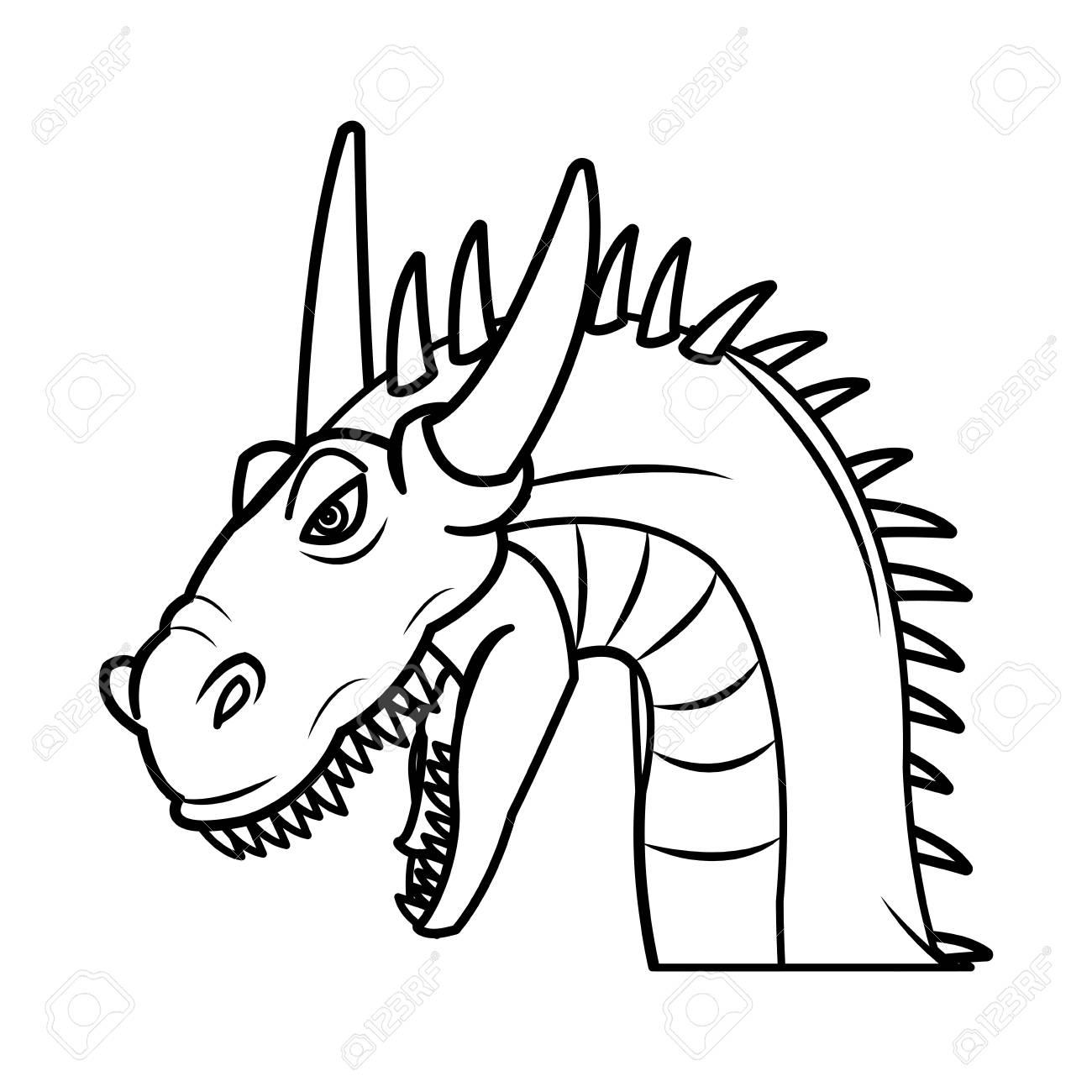 fairy tale dragon animal fantasy outline vector illustration stock vector 78518067 - Dragon Outline
