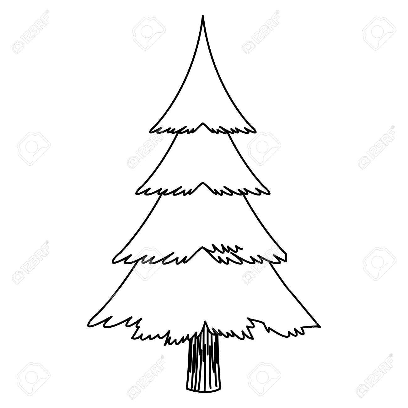 Christmas Tree Outline.Cartoon Christmas Tree Decoration Celebration Outline Vector