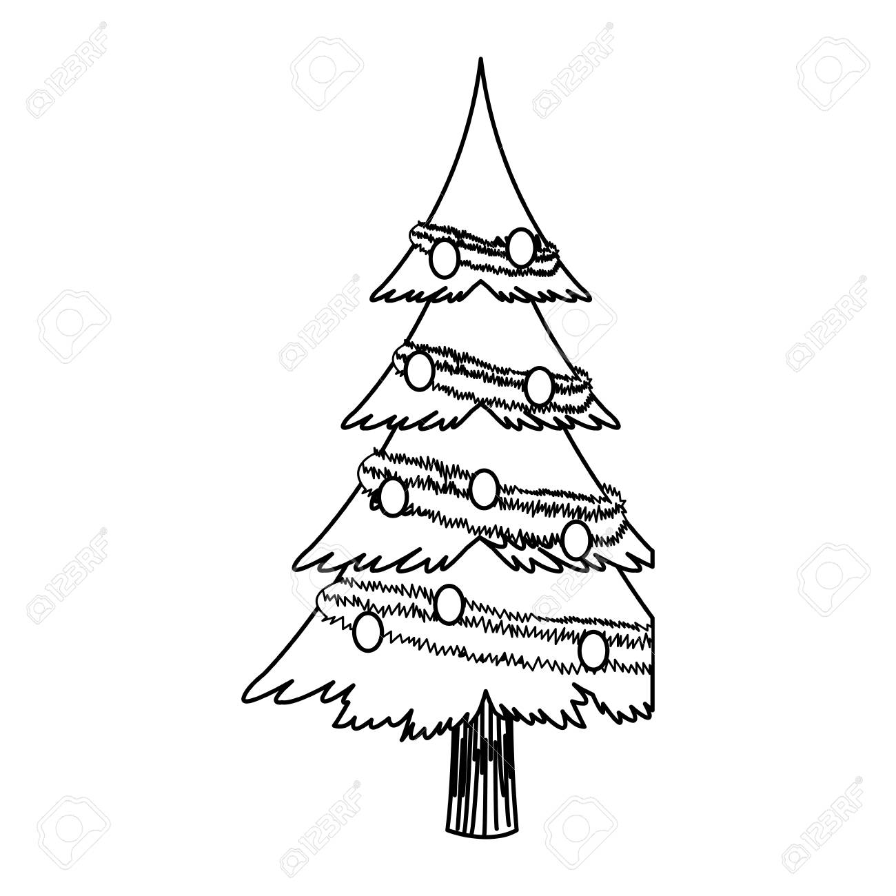 Cartoon Christmas Tree Decoration Celebration Outline Vector Royalty Free Cliparts Vectors And Stock Illustration Image 78542266 47 high quality collection of leafless tree outline by clipartmag. cartoon christmas tree decoration celebration outline vector