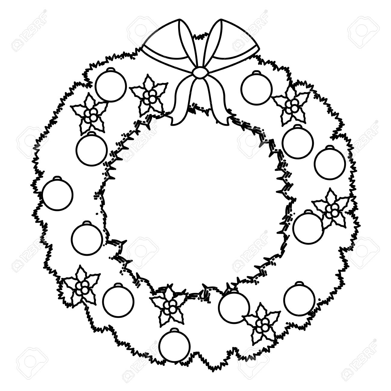 Christmas Wreath Flower Bow Ball Decoration Outline Vector Illustration Stock