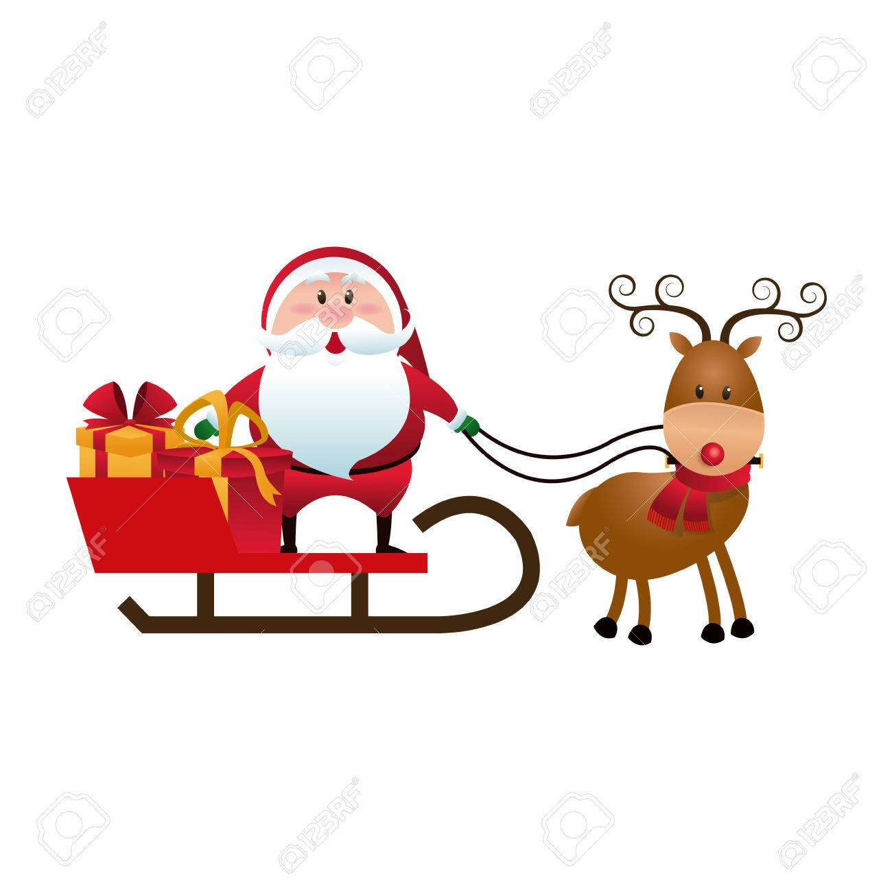 christmas santa claus reindeer sledge gifts cartoon vector illustration royalty free cliparts vectors and stock illustration image 78544846 christmas santa claus reindeer sledge gifts cartoon vector illustration