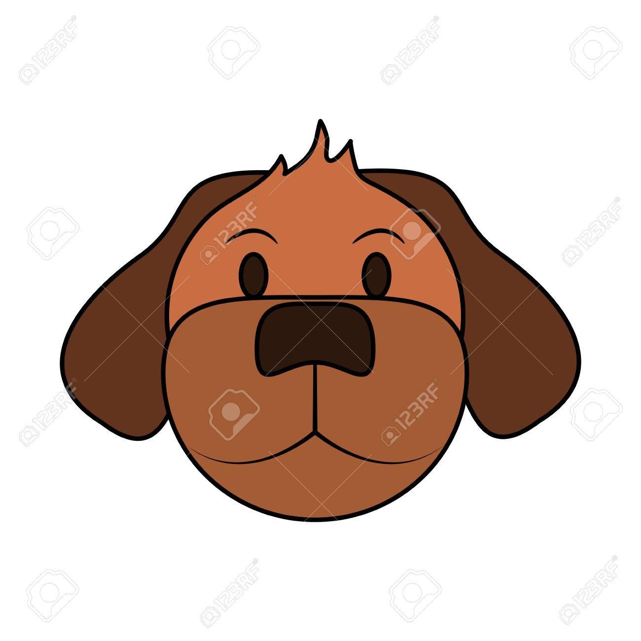 カラー イメージ漫画正面顔犬動物のベクトル イラストのイラスト素材
