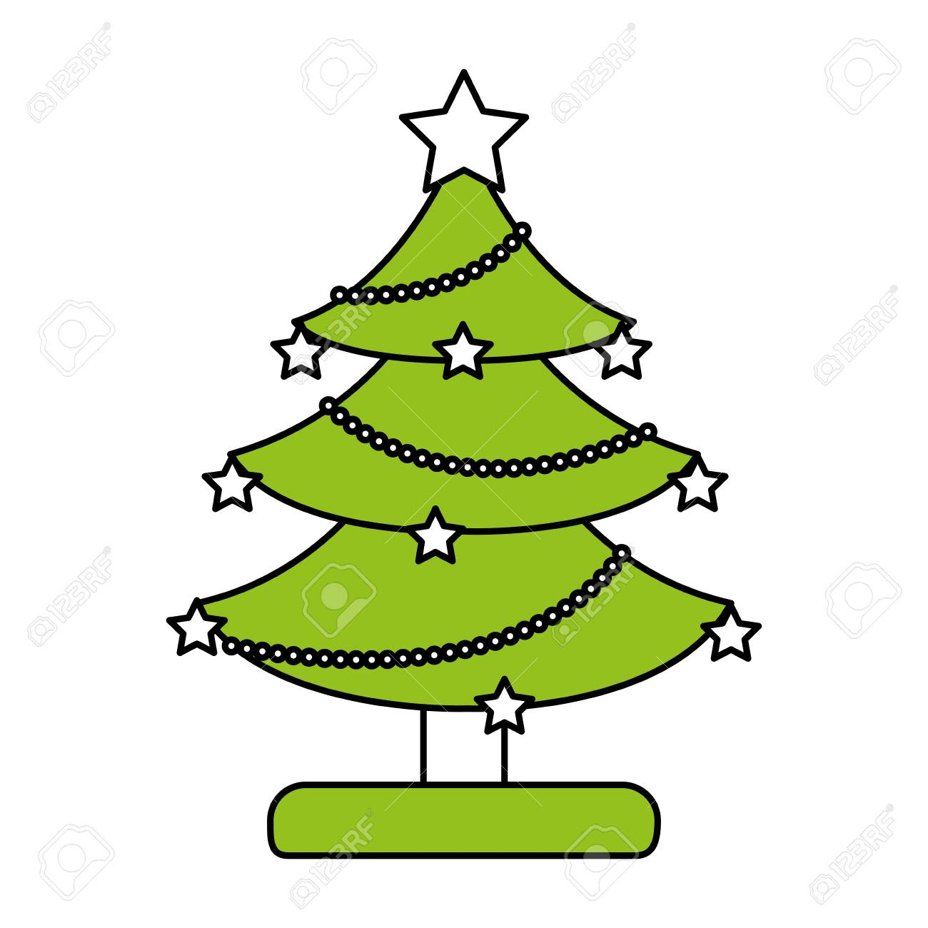 Color Silhouette Image Of Decorated Christmas Tree Vector ...
