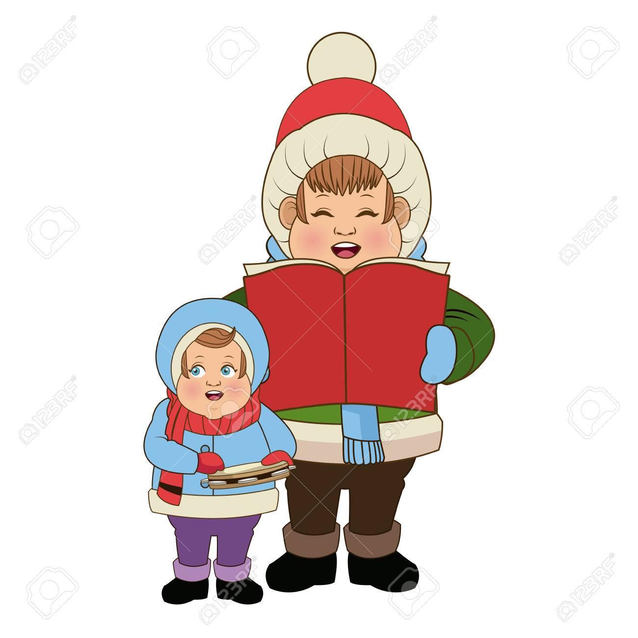 Cartoon-Mann Und Sohn Chor Singen Für Weihnachten Vektor ...