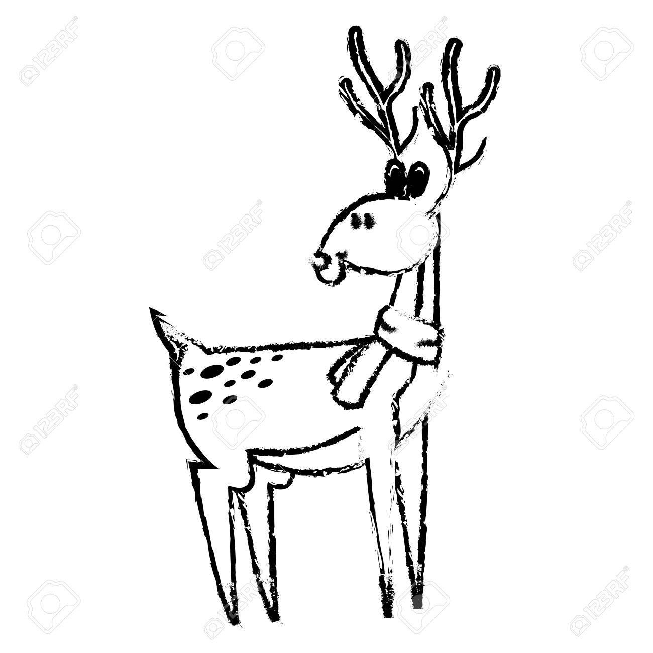 Mignon Cerf Dessin Anime Noel Corne Image Vecteur Illustration Clip