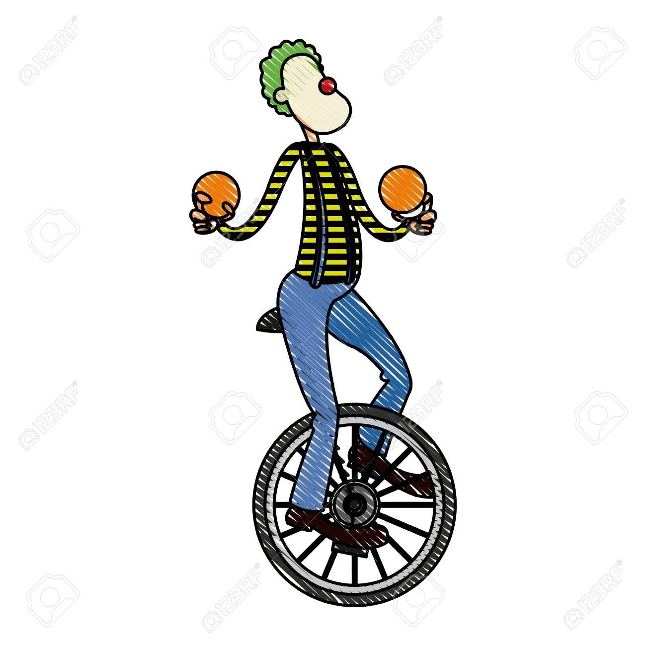Caractere Clown Cirque Jongleur Joyeux Image Vecteur Ilustration