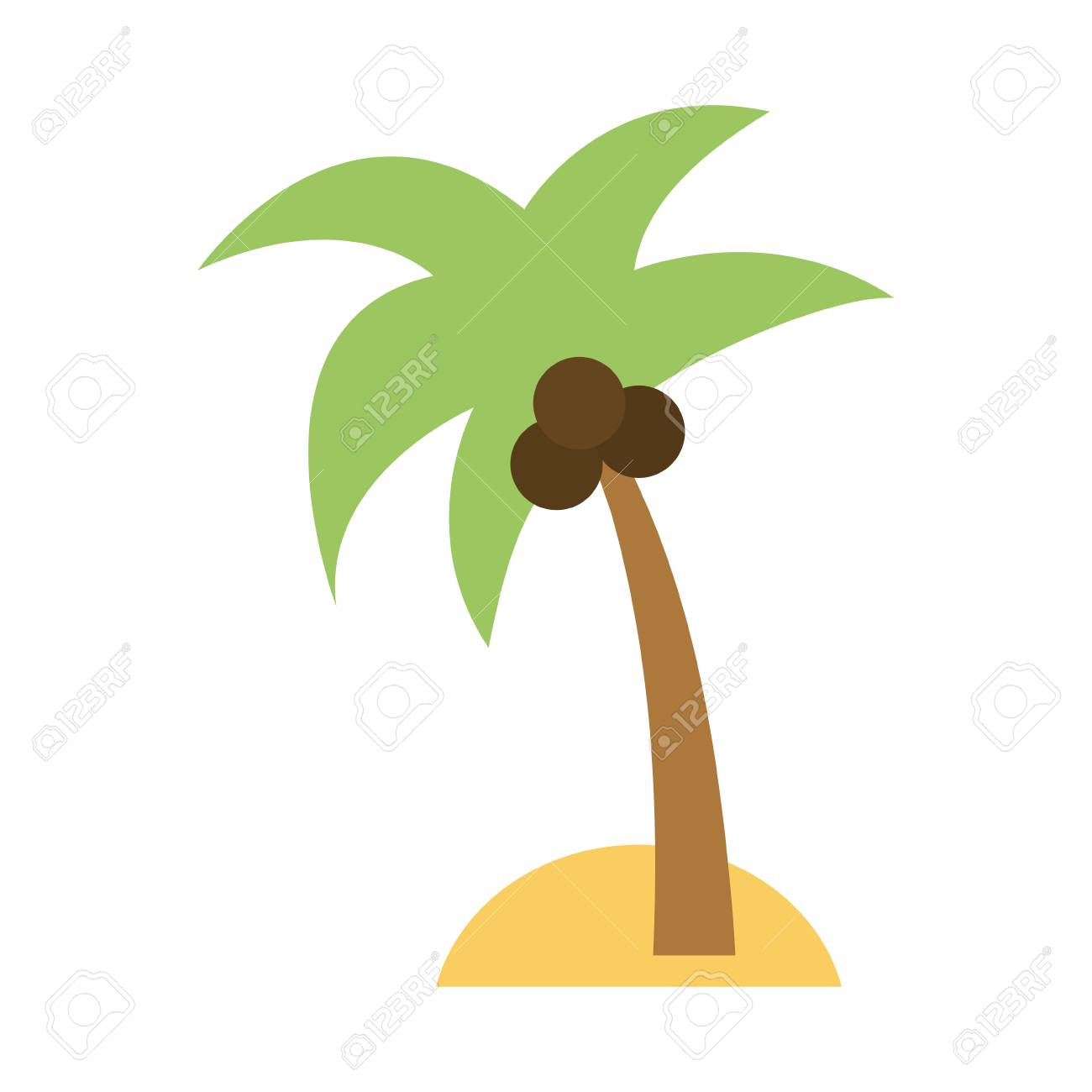 Isolated Island With Palm Tree Icon Image Vector Illustration ...