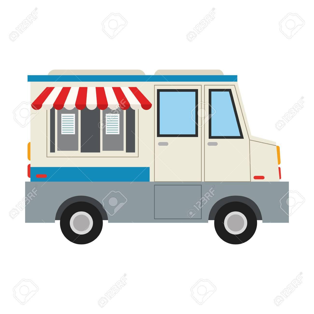 Food Truck Icon Image Vector Illustration Design Stock