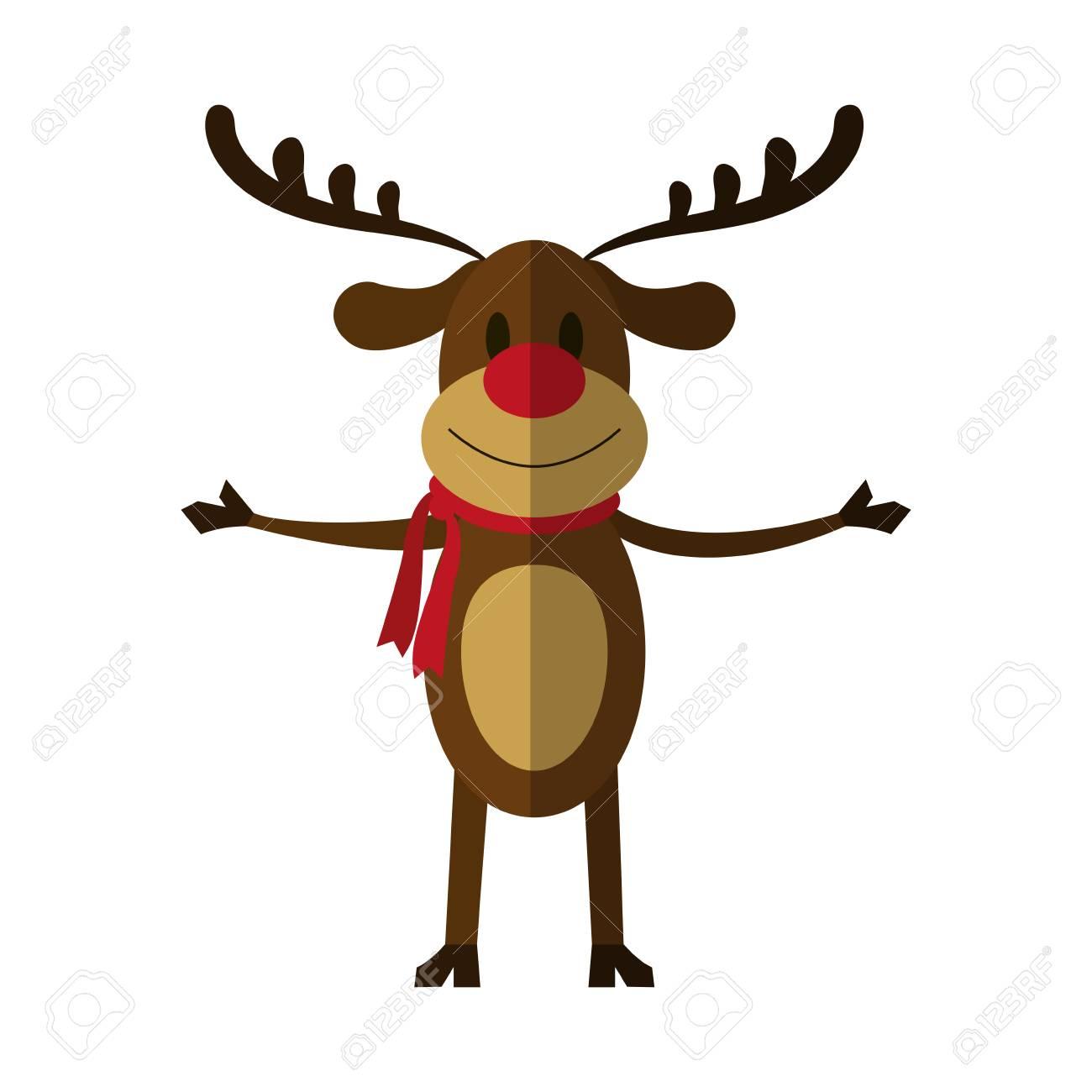 ルドルフ赤鼻のトナカイ クリスマス文字アイコン画像ベクトル イラスト