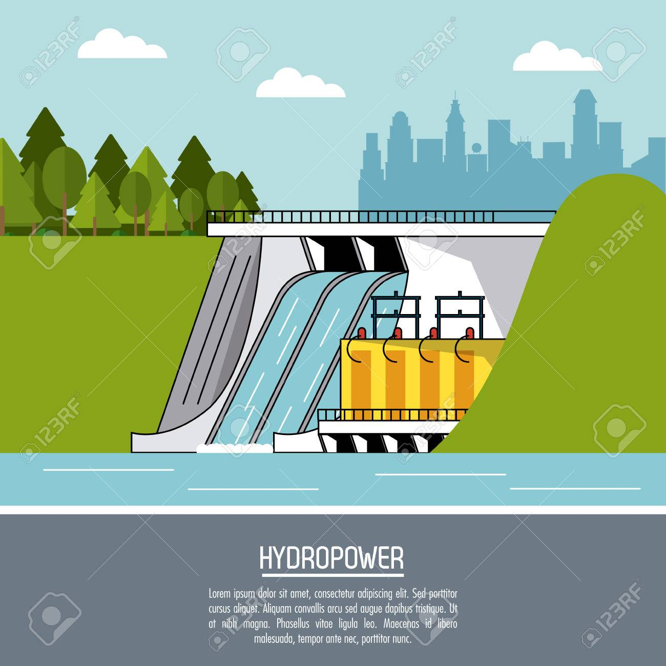 Color Landscape Background Hydropower Plant Renewable Energy Vector Hydro Power With Diagram Illustration 78851189