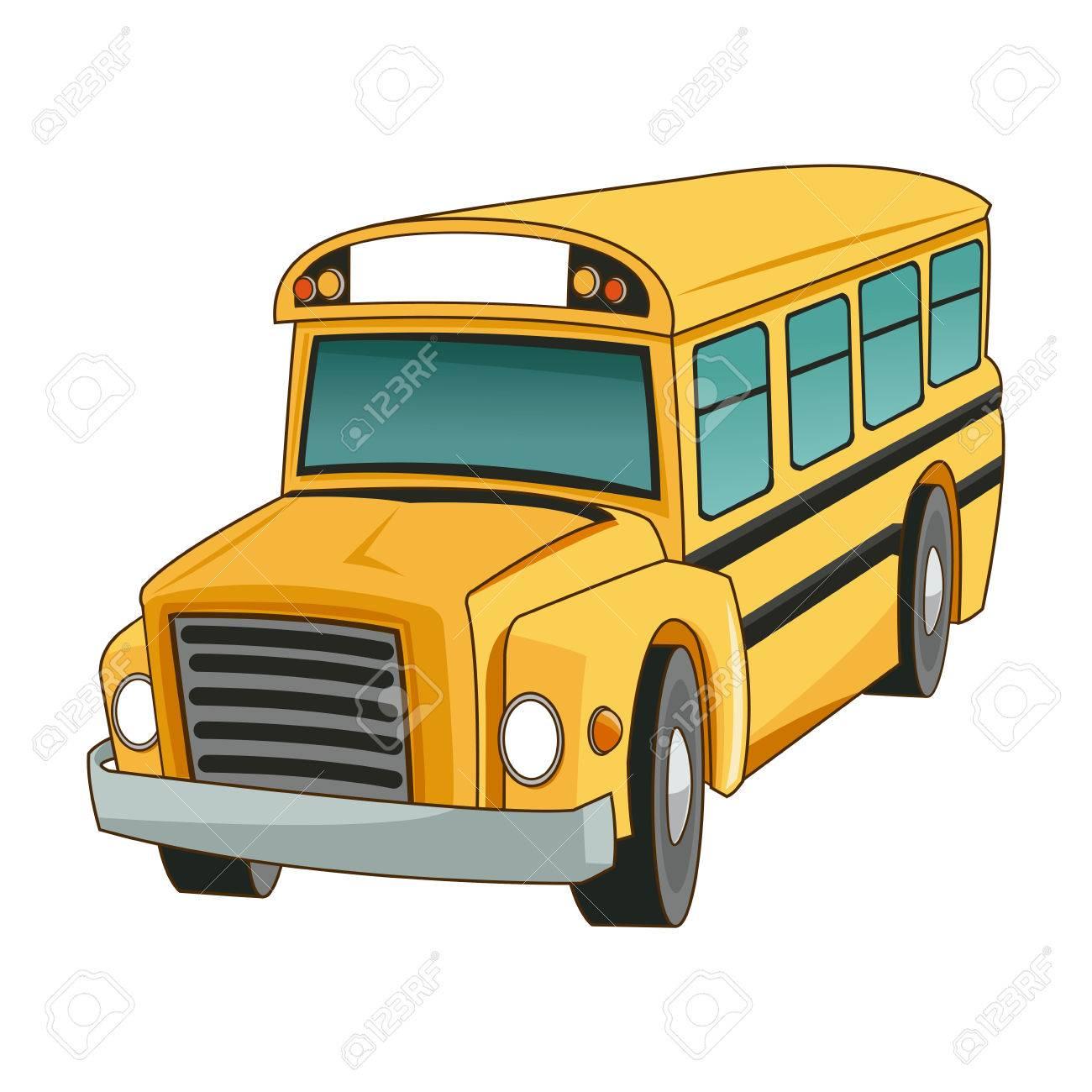 Autobus Scolaire Transport Camion Véhicule Dessin Animé Illustration Vectorielle