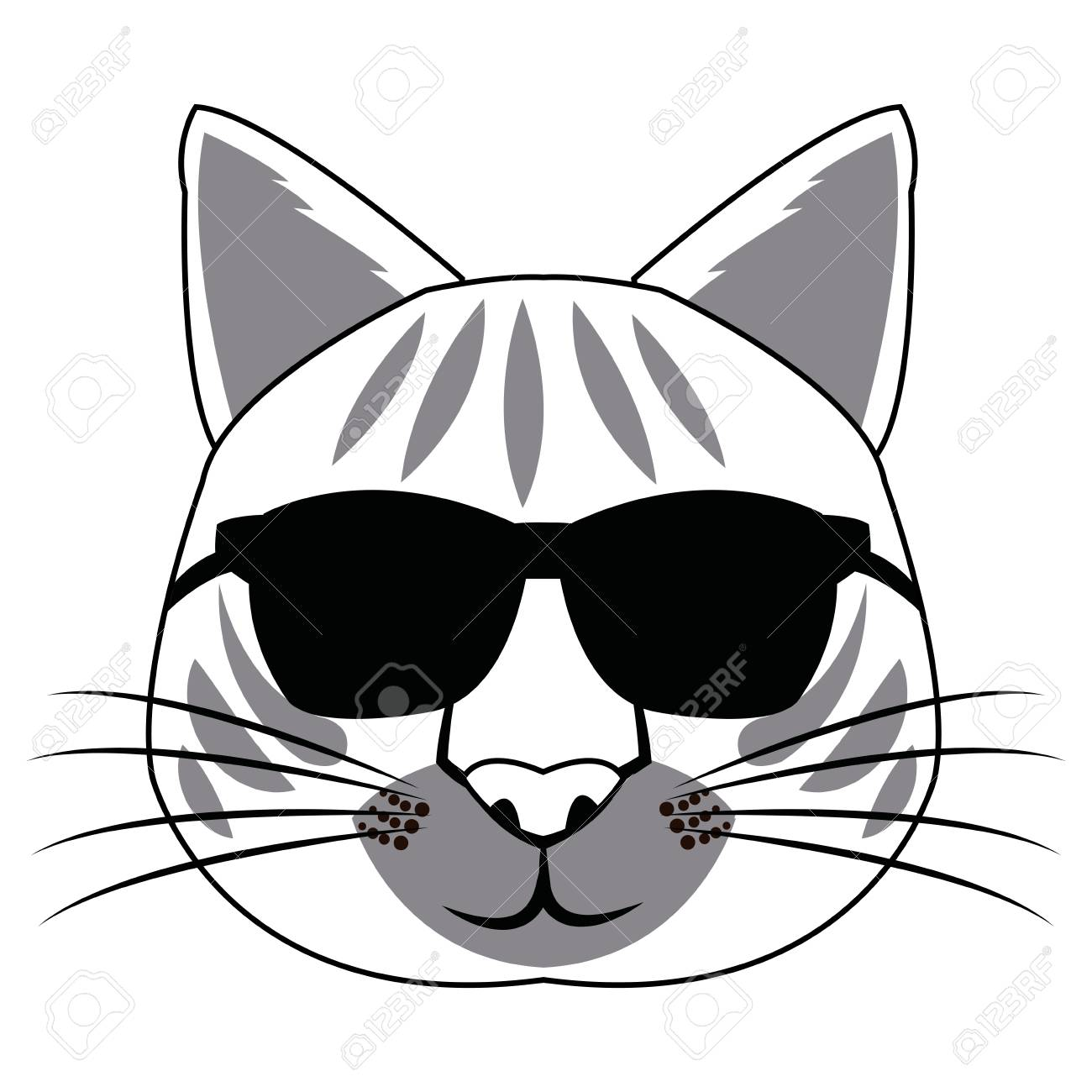 e4a354d16f05 Hand drawn portrait of Cat with glasses and bow tie. Vector isolated  elements. Stock